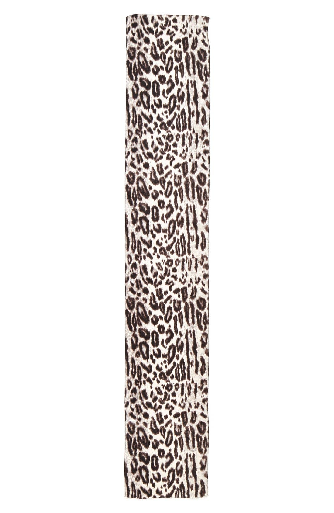 ECHO, Leopard Silk Scarf, Alternate thumbnail 2, color, 001