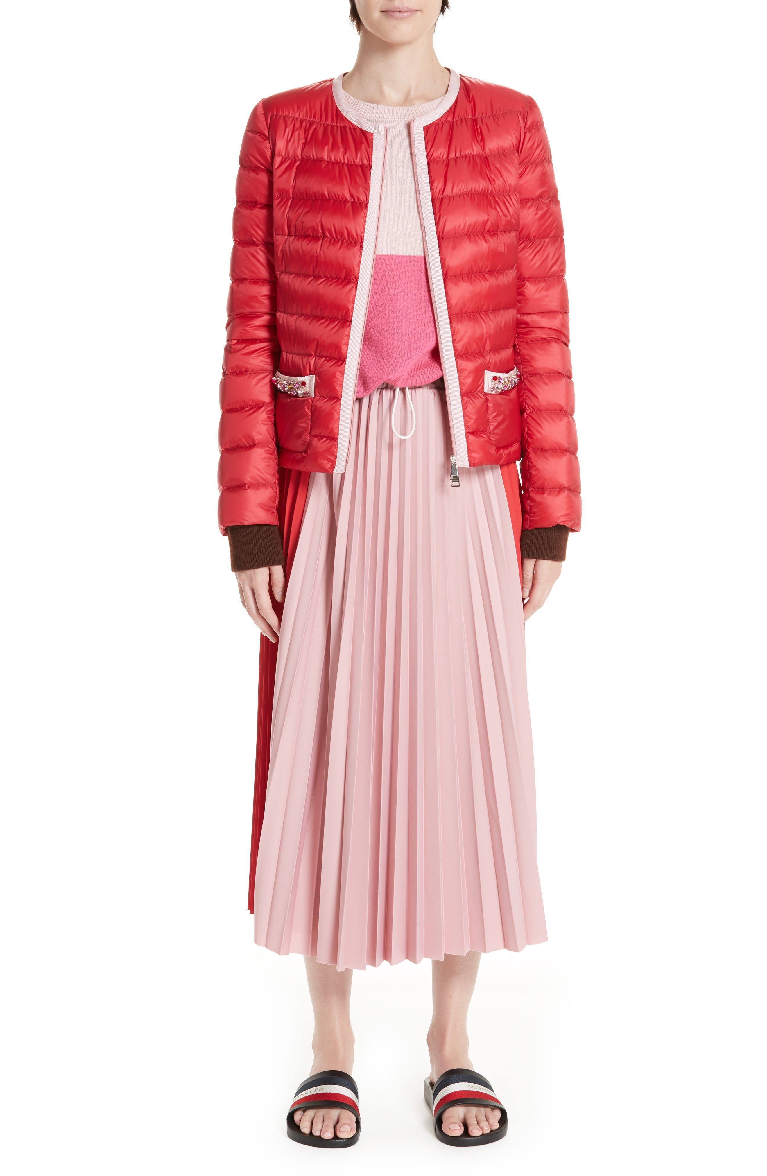 MONCLER, Cristalline Jacket, Alternate thumbnail 8, color, RED