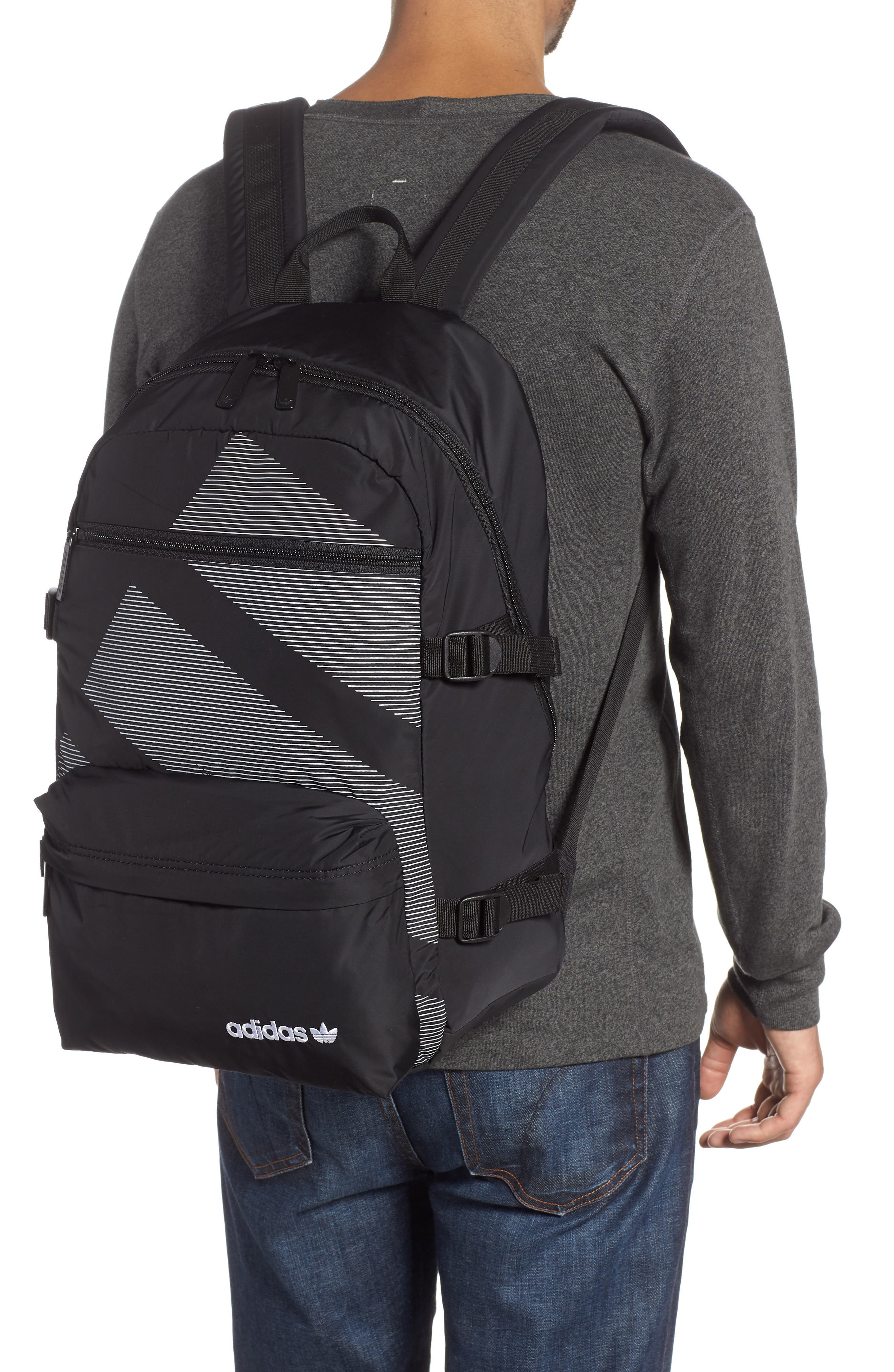 ADIDAS ORIGINALS, EQT Backpack, Alternate thumbnail 2, color, BLACK/ WHITE/ SUB GREEN