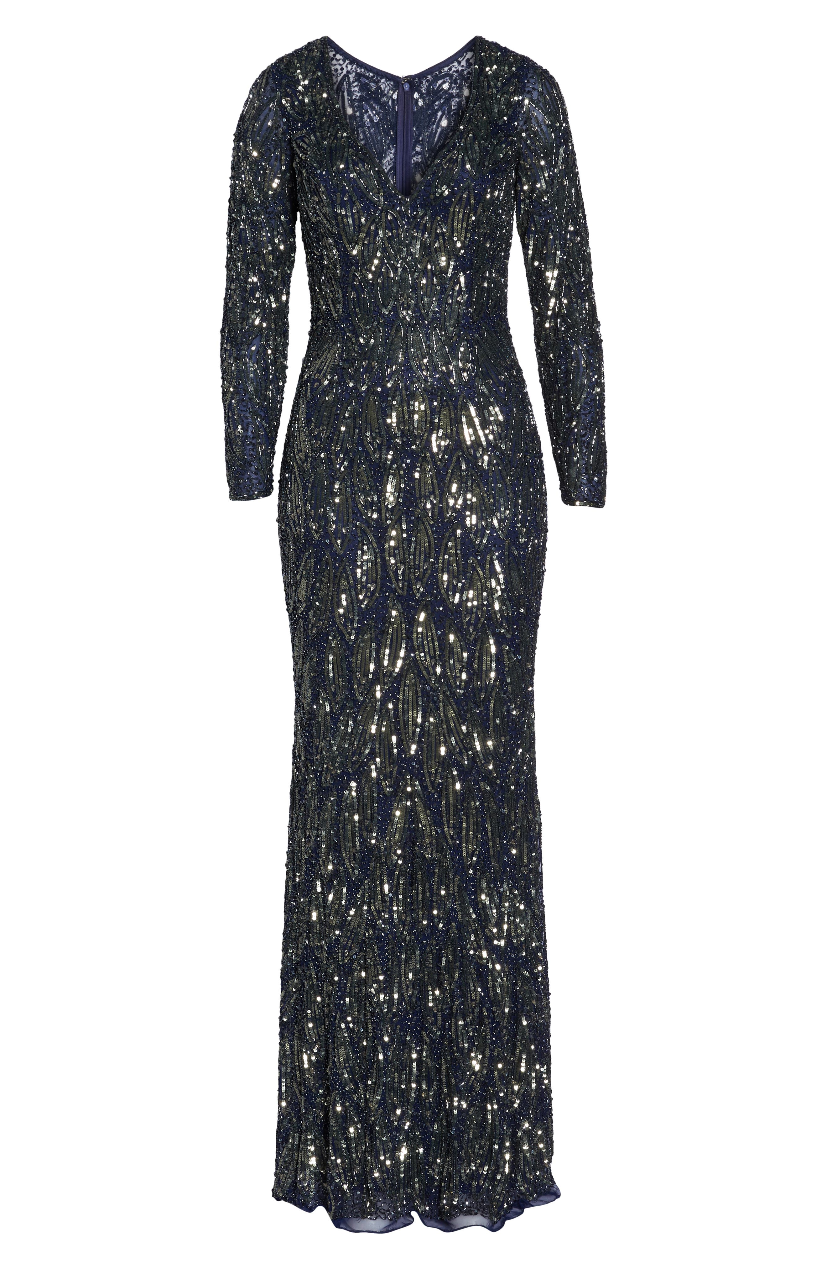 MAC DUGGAL, Beaded Long Sleeve Gown, Alternate thumbnail 7, color, MIDNIGHT