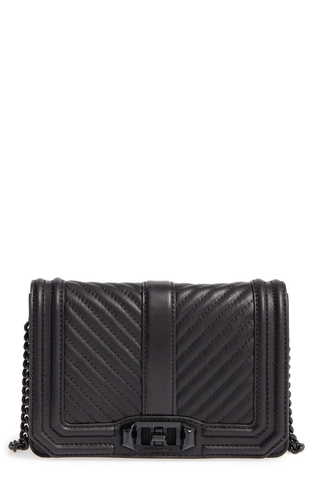 REBECCA MINKOFF, Small Love Leather Crossbody Bag, Main thumbnail 1, color, BLACK/ BLACK HRDWR