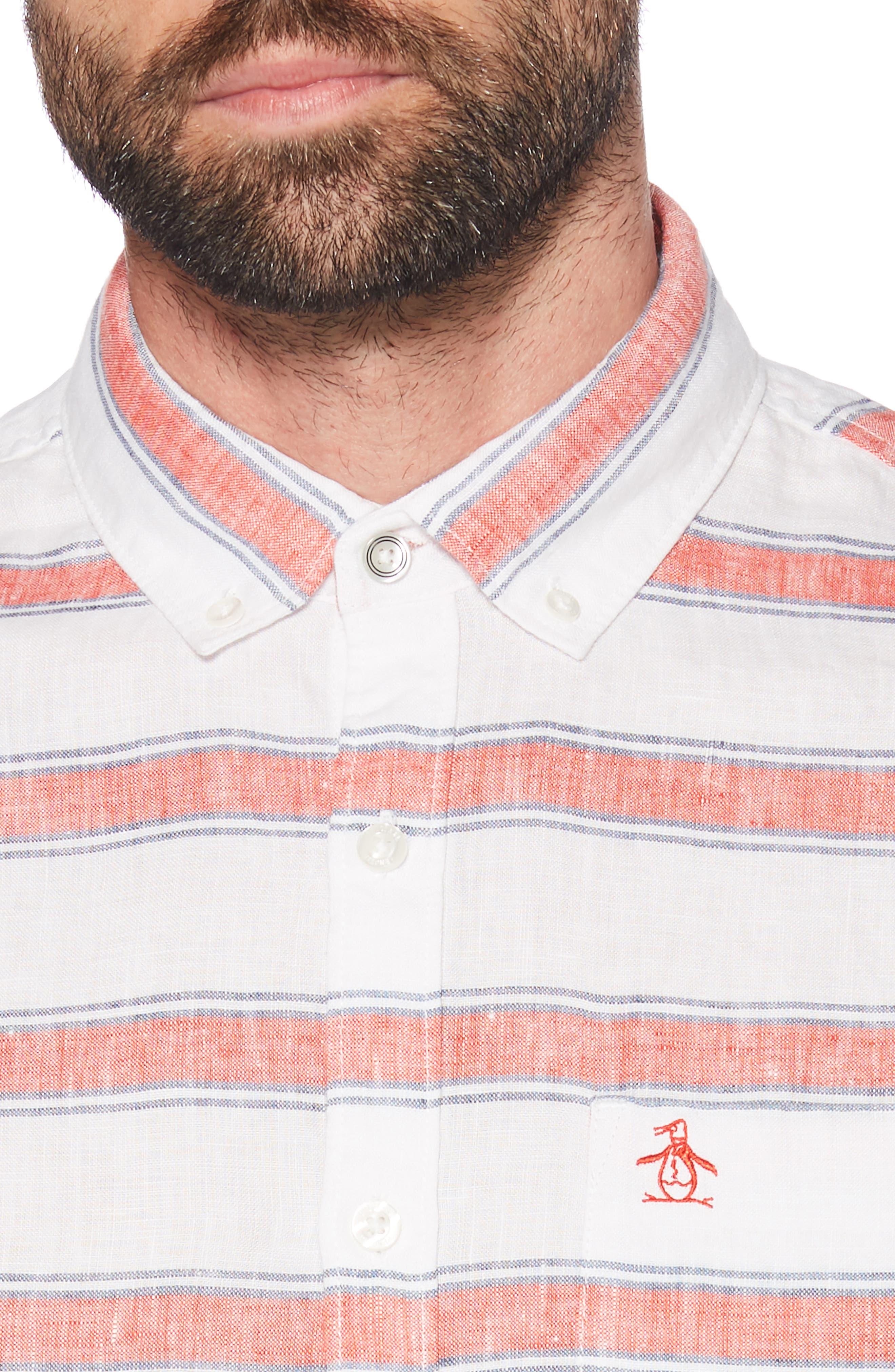 ORIGINAL PENGUIN, Horizontal Stripe Linen Shirt, Alternate thumbnail 2, color, BRIGHT WHITE
