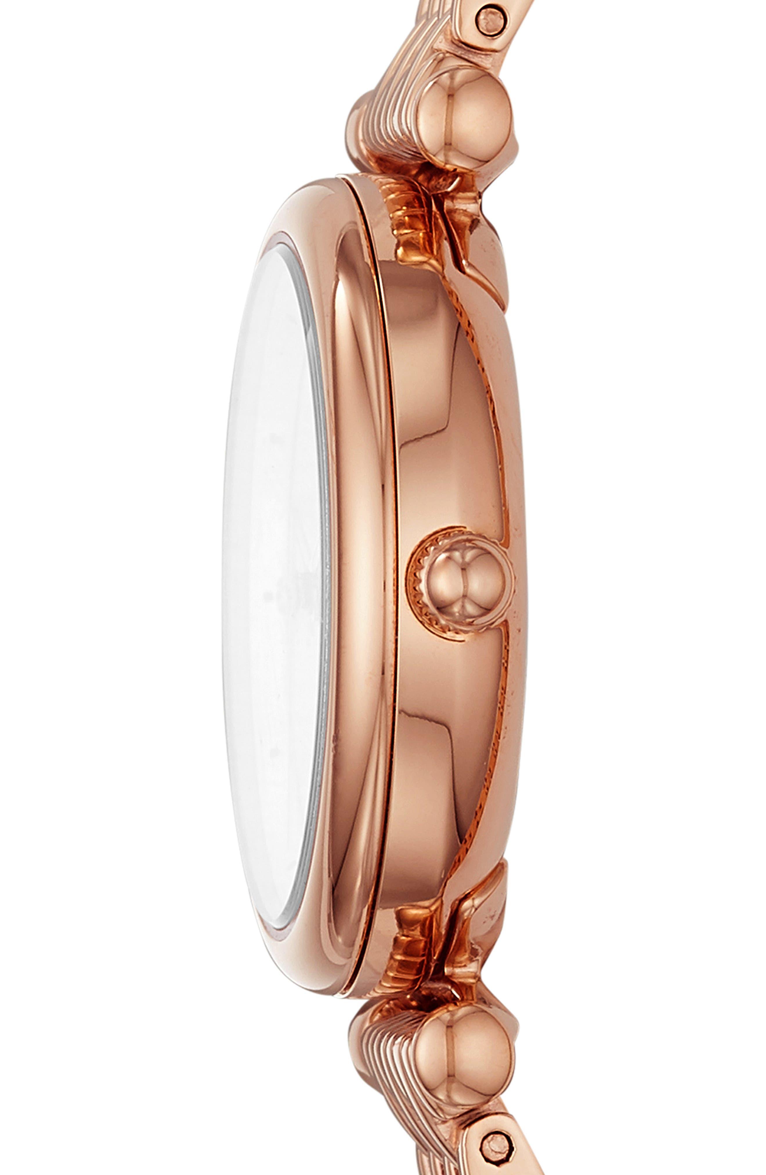 FOSSIL, Mini Carlie Bracelet Watch, 29mm, Alternate thumbnail 2, color, ROSEGOLD/MOTHER PEARL/ROSEGOLD