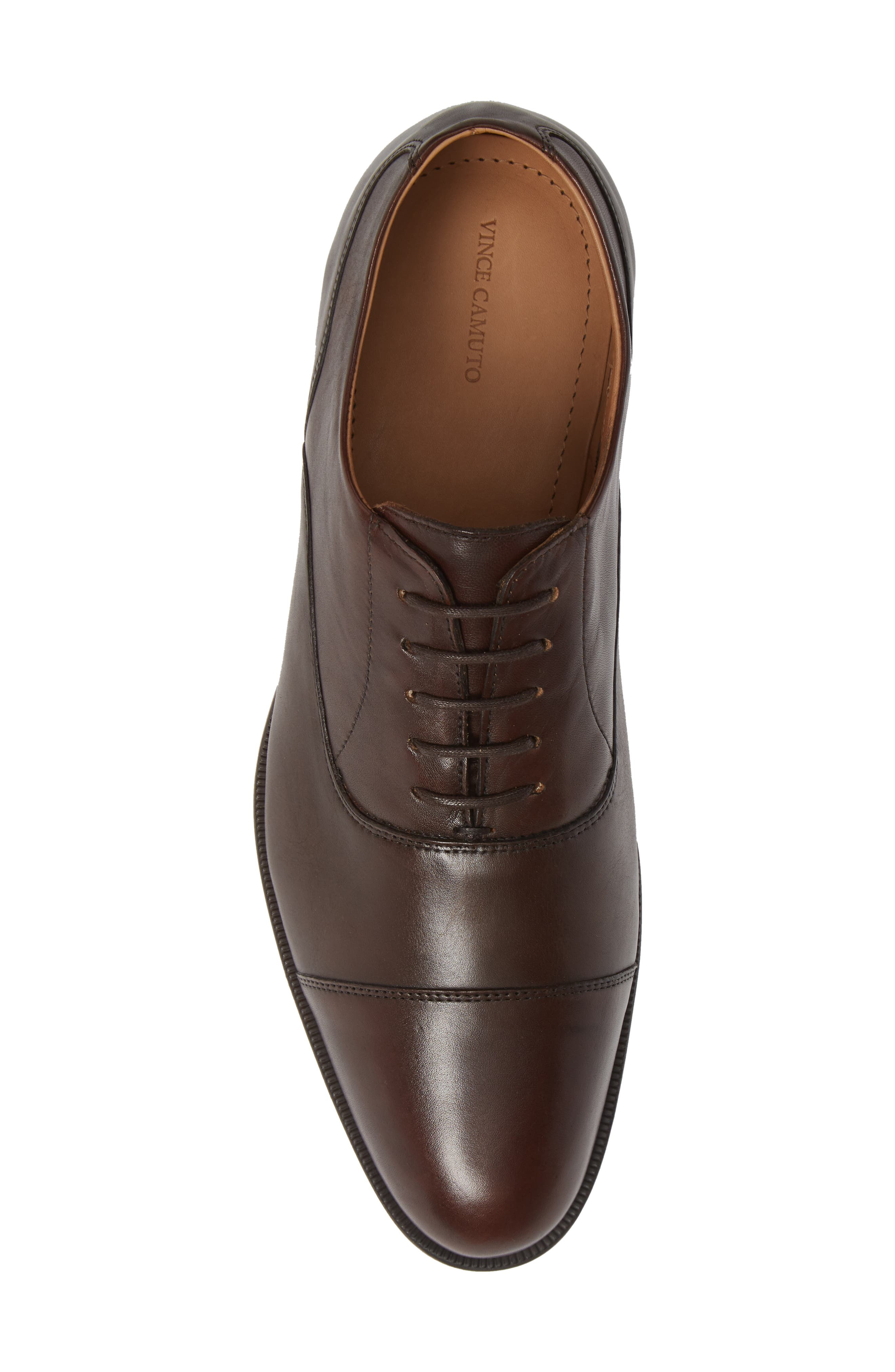 VINCE CAMUTO, Iven Cap Toe Oxford, Alternate thumbnail 5, color, DARK BROWN LEATHER