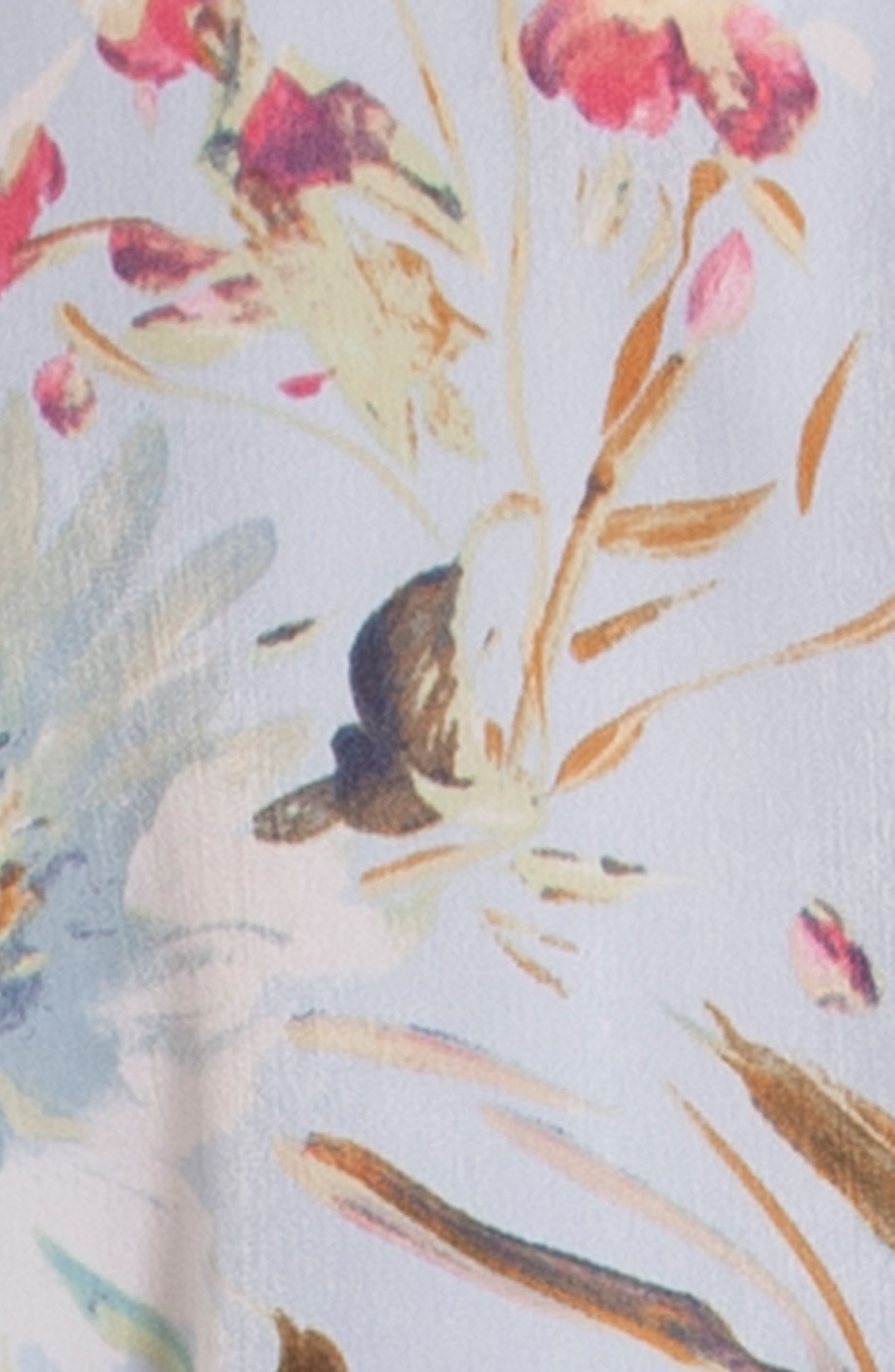IN BLOOM BY JONQUIL, Chiffon Wrap, Alternate thumbnail 4, color, BLUE ROSE PRINT