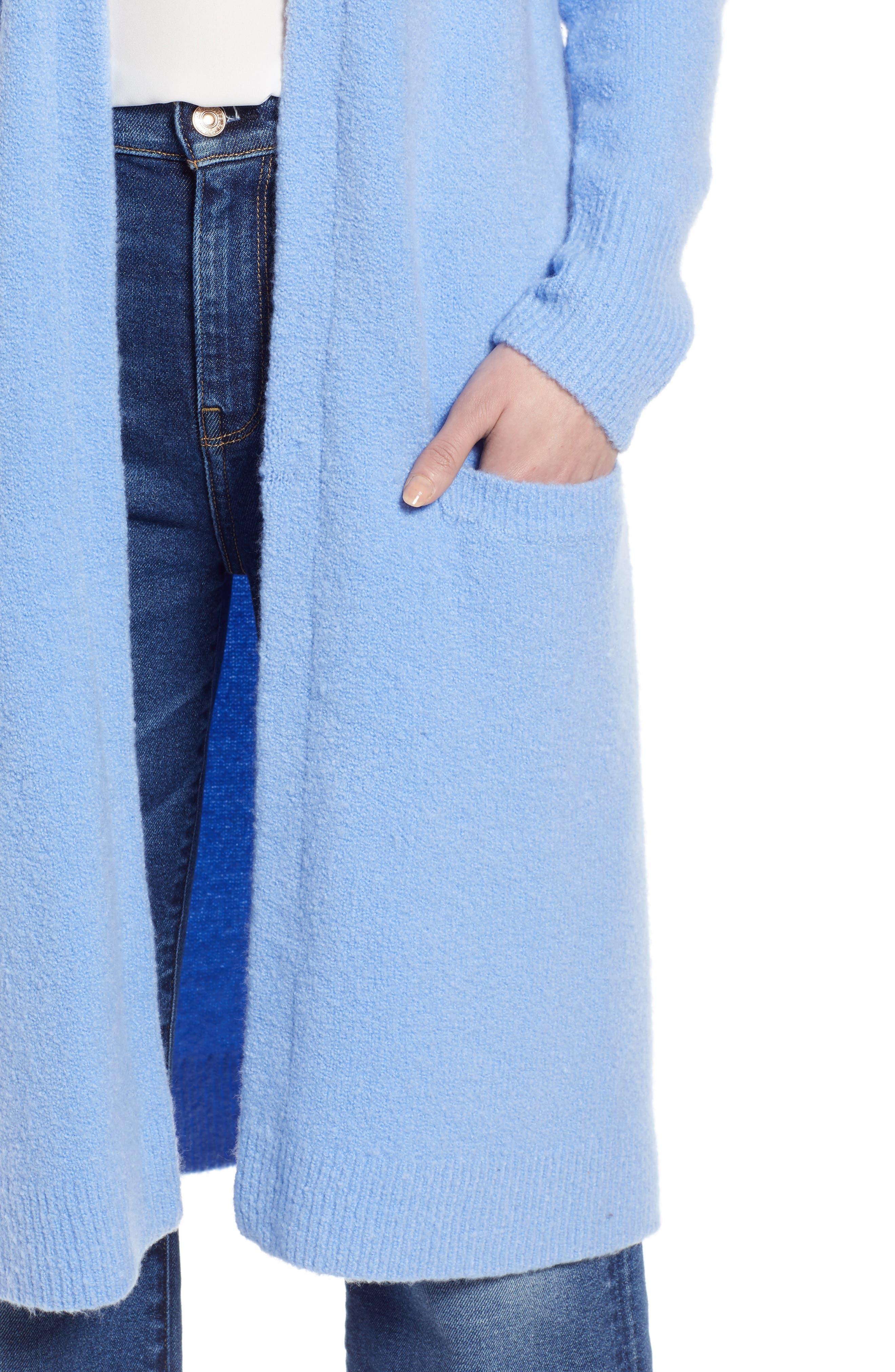 HALOGEN<SUP>®</SUP>, Long Open Front Cardigan, Alternate thumbnail 4, color, BLUE CORNFLOWER