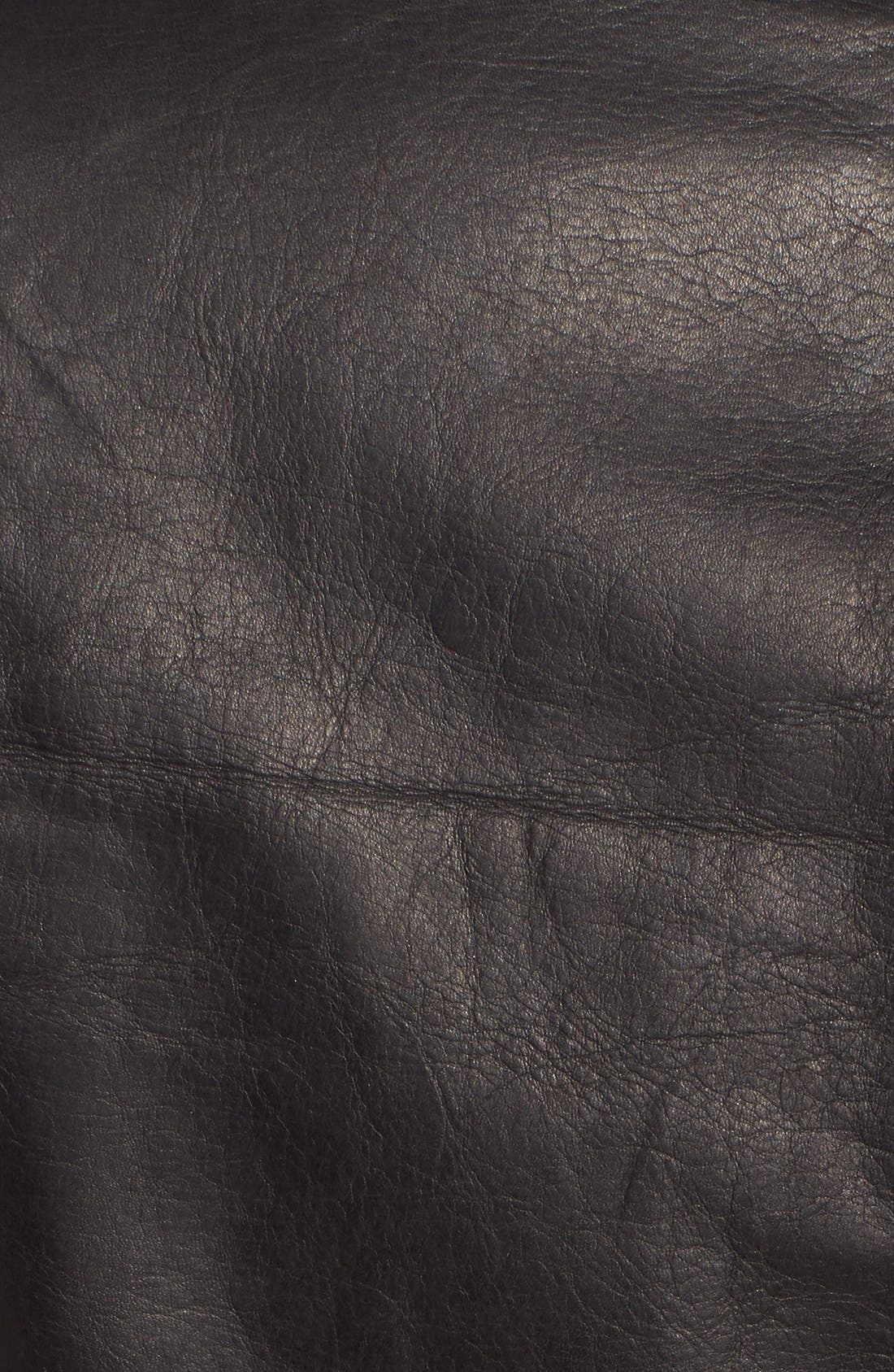 REBECCA MINKOFF, 'Nana' Leather Moto Jacket, Alternate thumbnail 3, color, 001