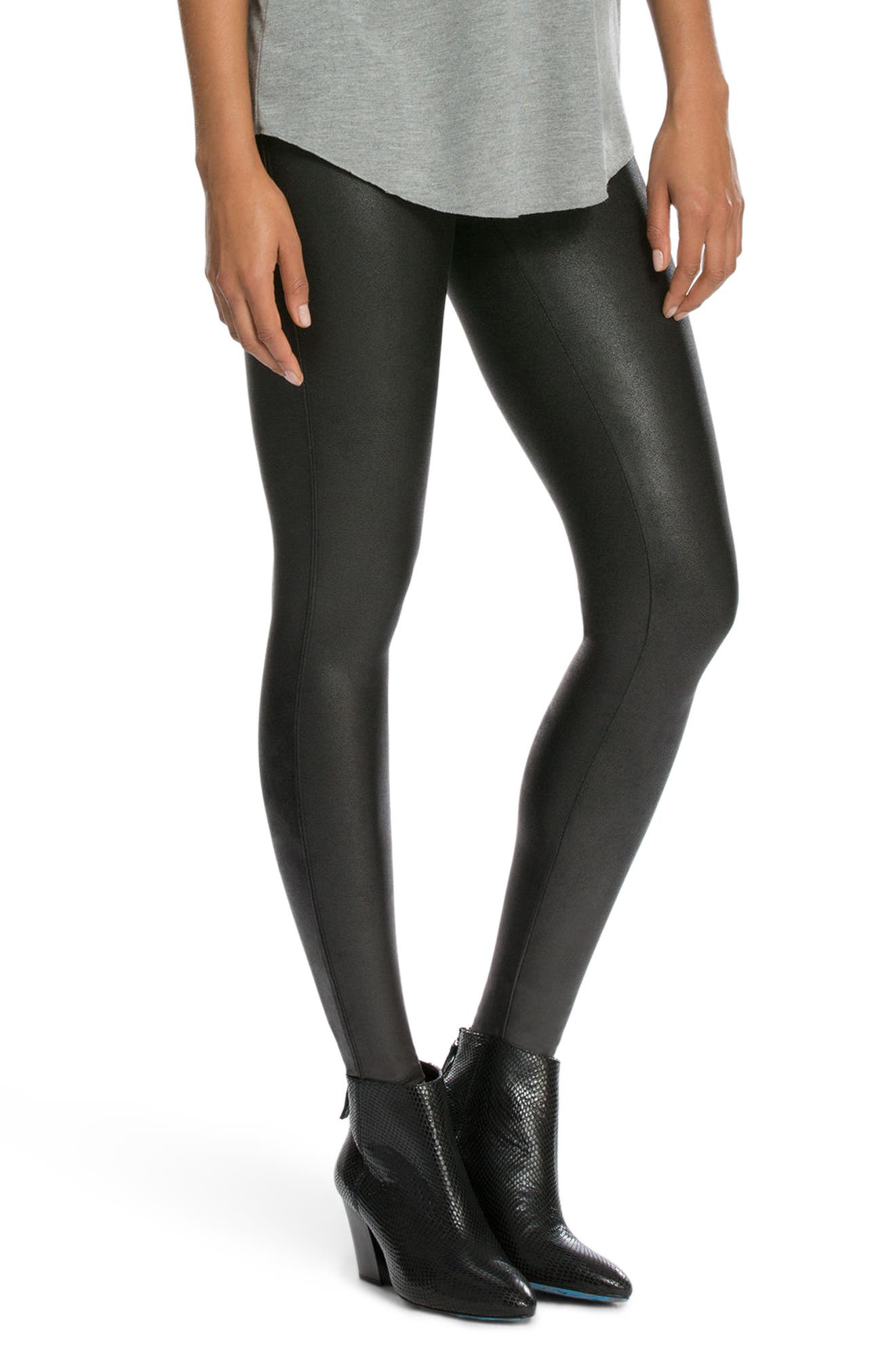 SPANX<SUP>®</SUP>, Faux Leather Leggings, Alternate thumbnail 3, color, BLACK