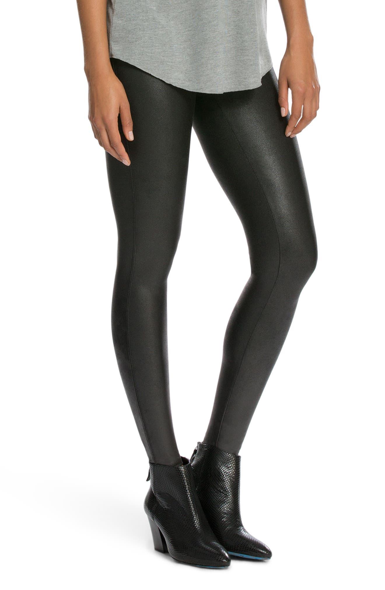 SPANX<SUP>®</SUP>, Faux Leather Leggings, Alternate thumbnail 4, color, BLACK