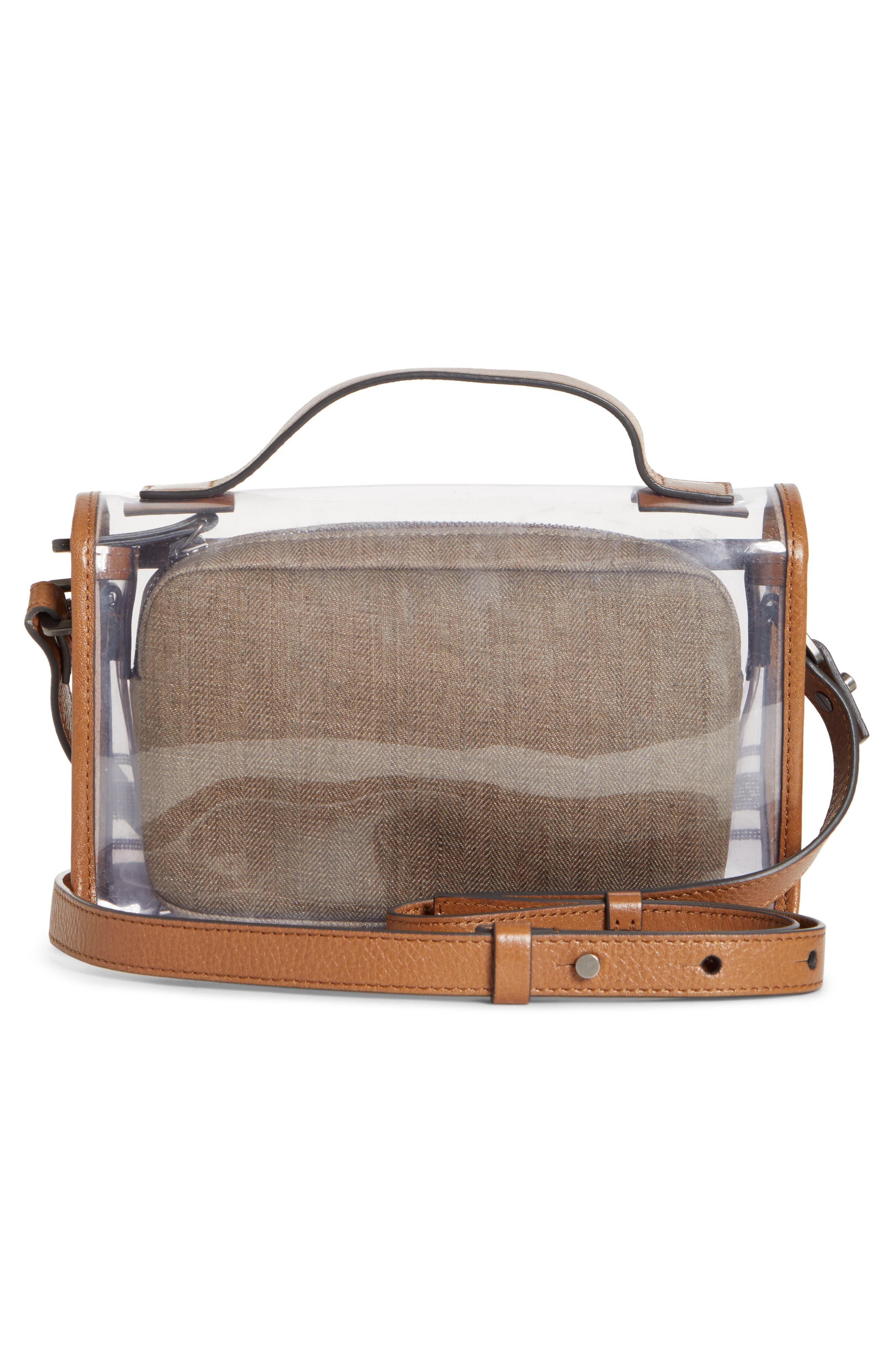BRUNELLO CUCINELLI, Monili & Leather Trim Clear Shoulder Bag, Alternate thumbnail 3, color, LT BROWN