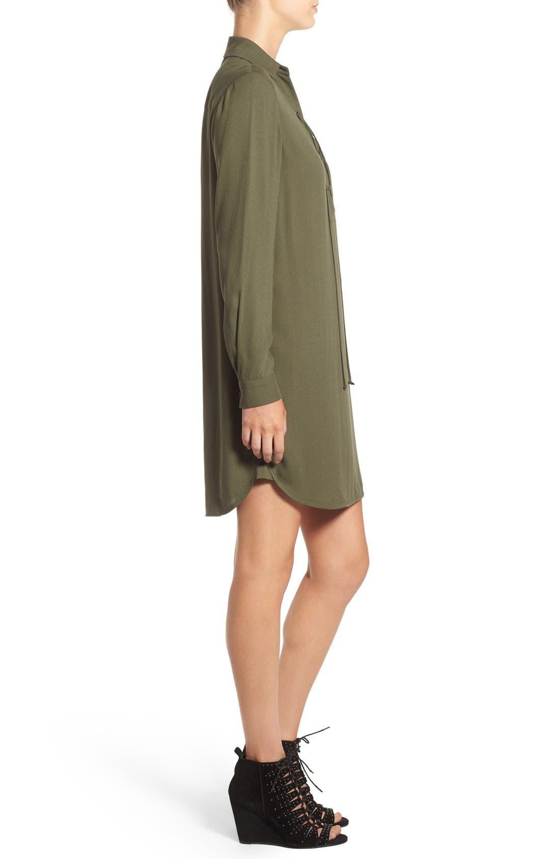 WAYF, Lace-Up Shirtdress, Alternate thumbnail 5, color, 300