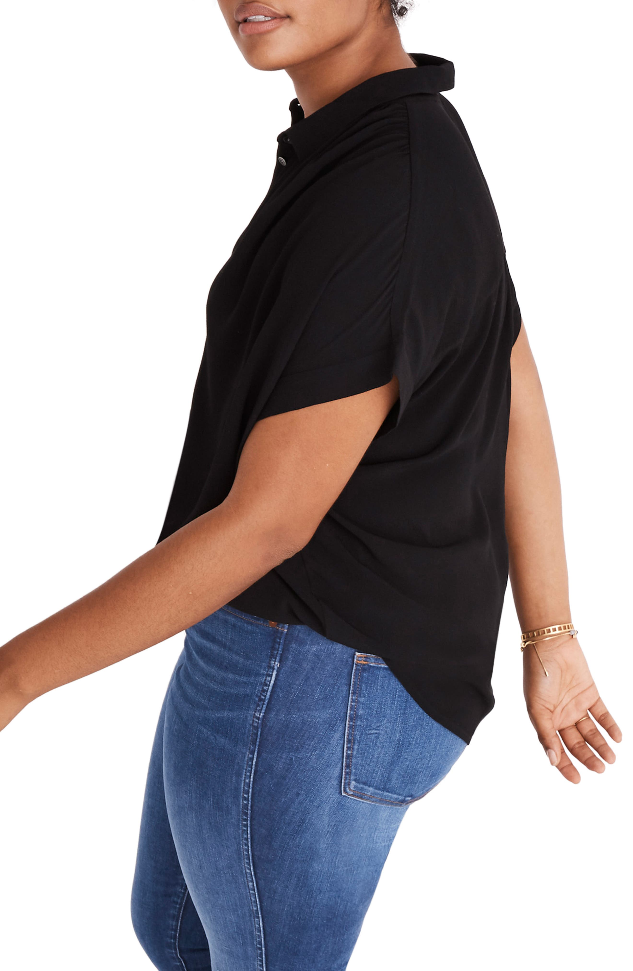 MADEWELL, Central Drapey Shirt, Alternate thumbnail 7, color, TRUE BLACK