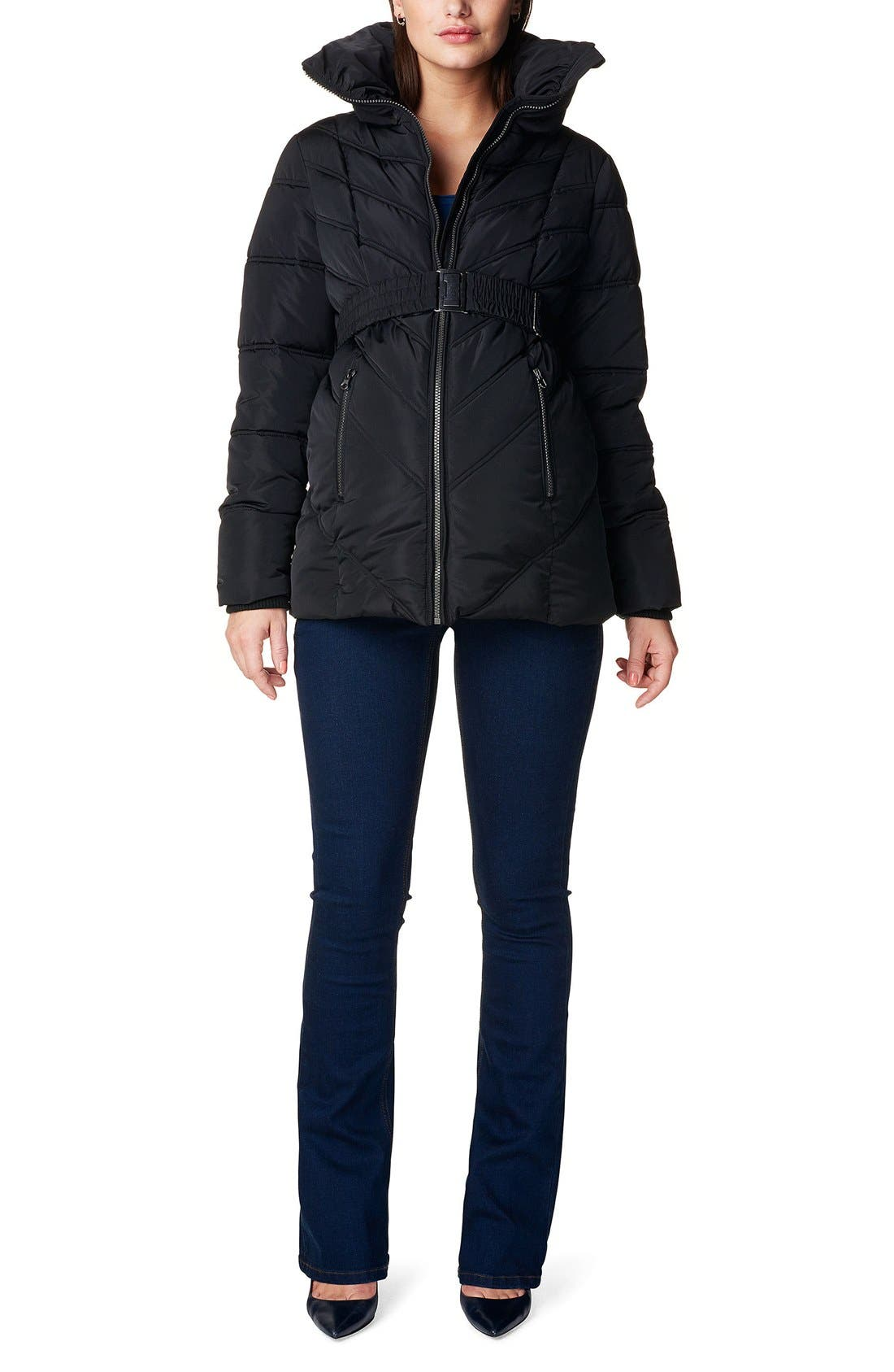 NOPPIES 'Lene' Quilted Maternity Jacket, Main, color, BLACK