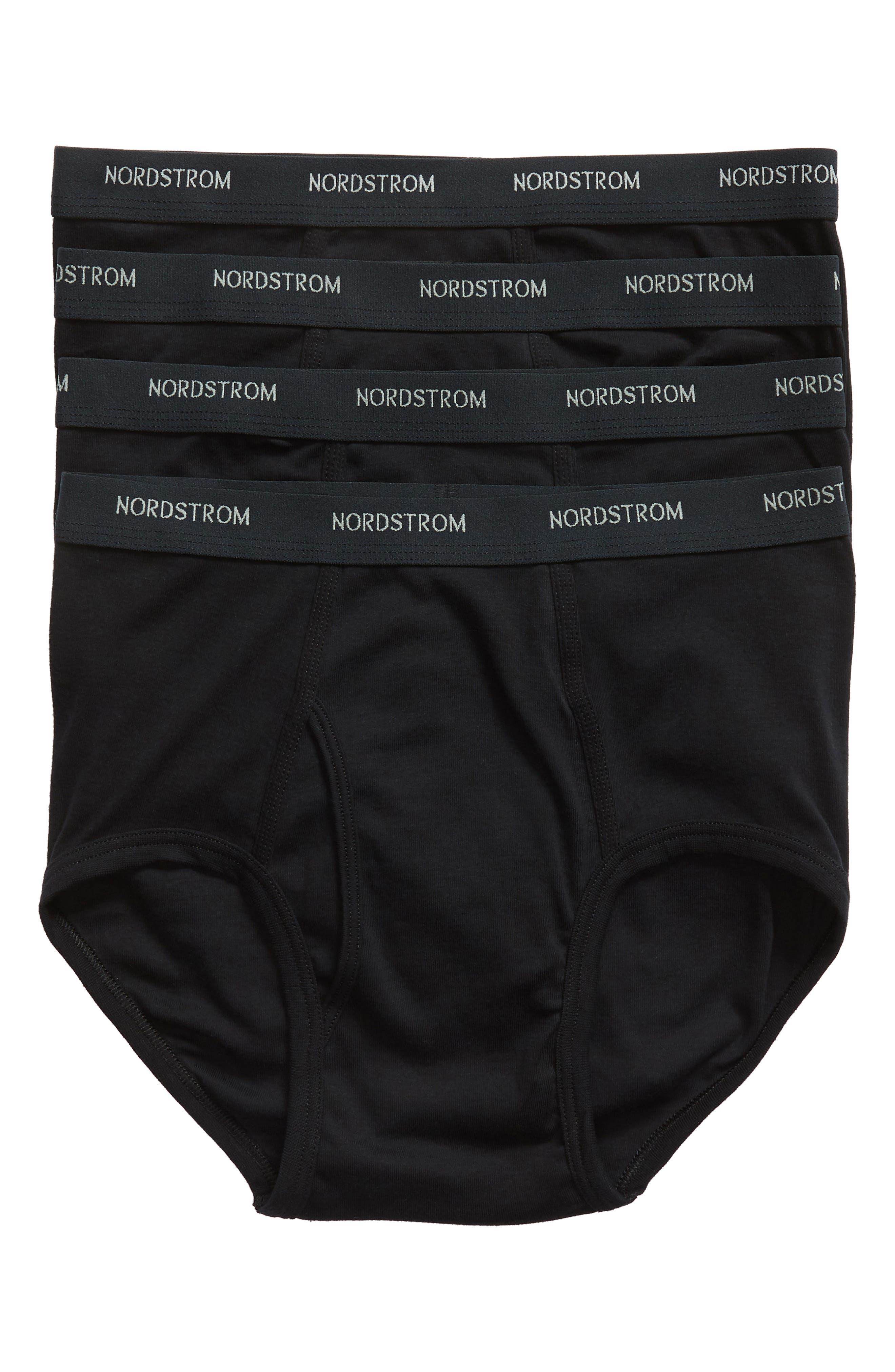 NORDSTROM MEN'S SHOP 4-Pack Supima<sup>®</sup> Cotton Briefs, Main, color, BLACK