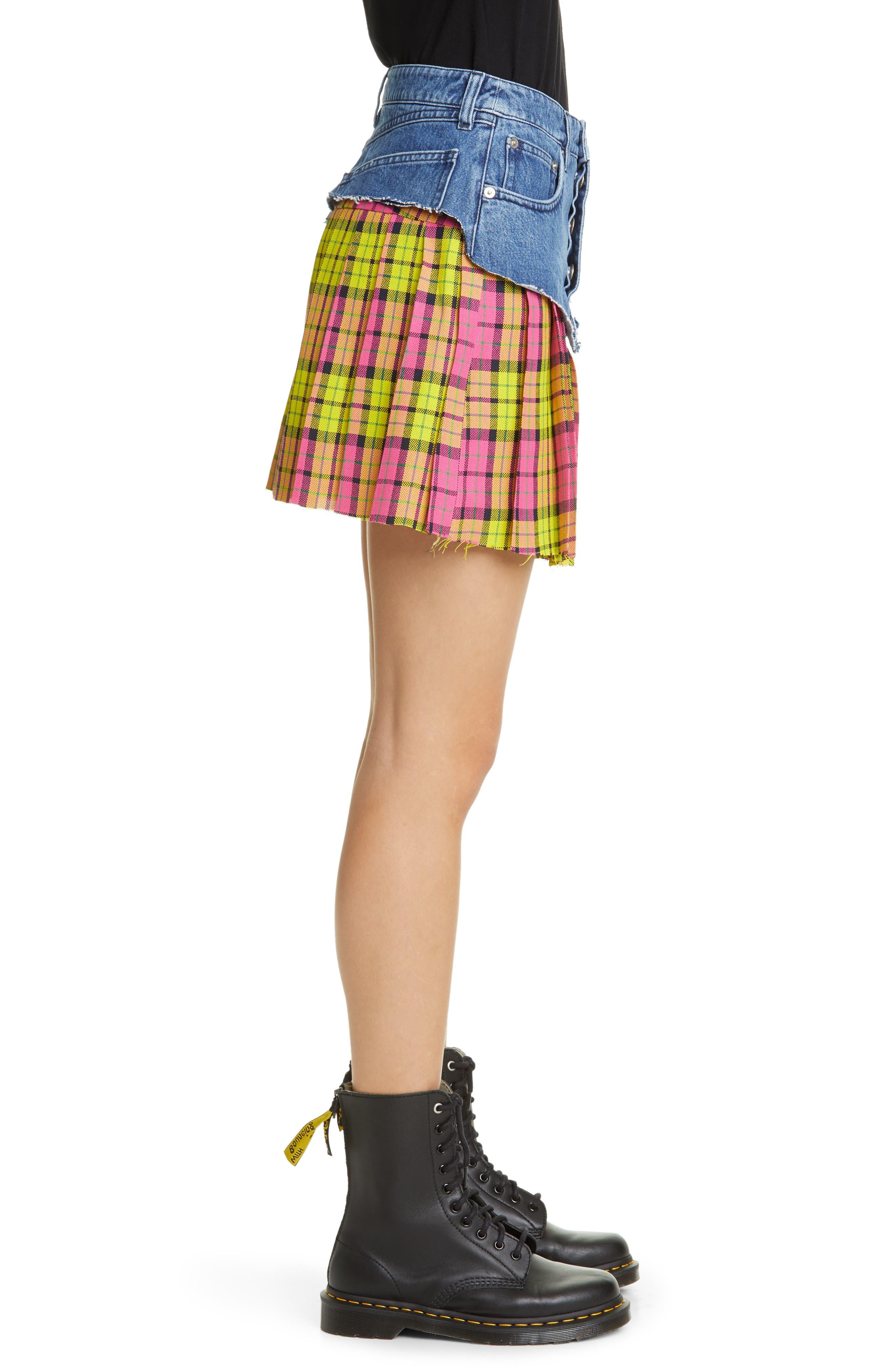 VETEMENTS, Schoolgirl Skirt, Alternate thumbnail 3, color, BLUE
