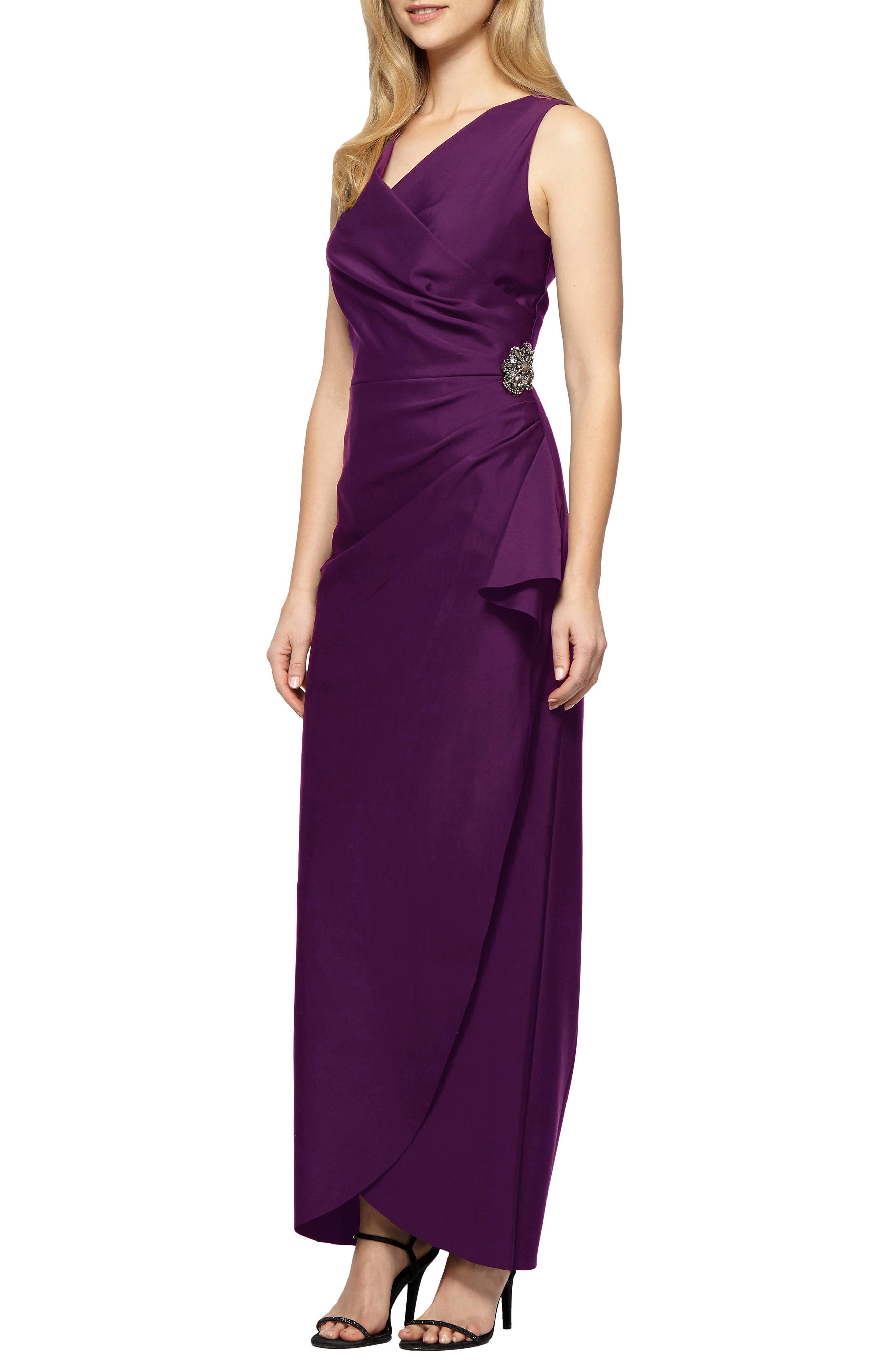 Petite Alex Evenings Embellished Side Drape Column Gown, Purple