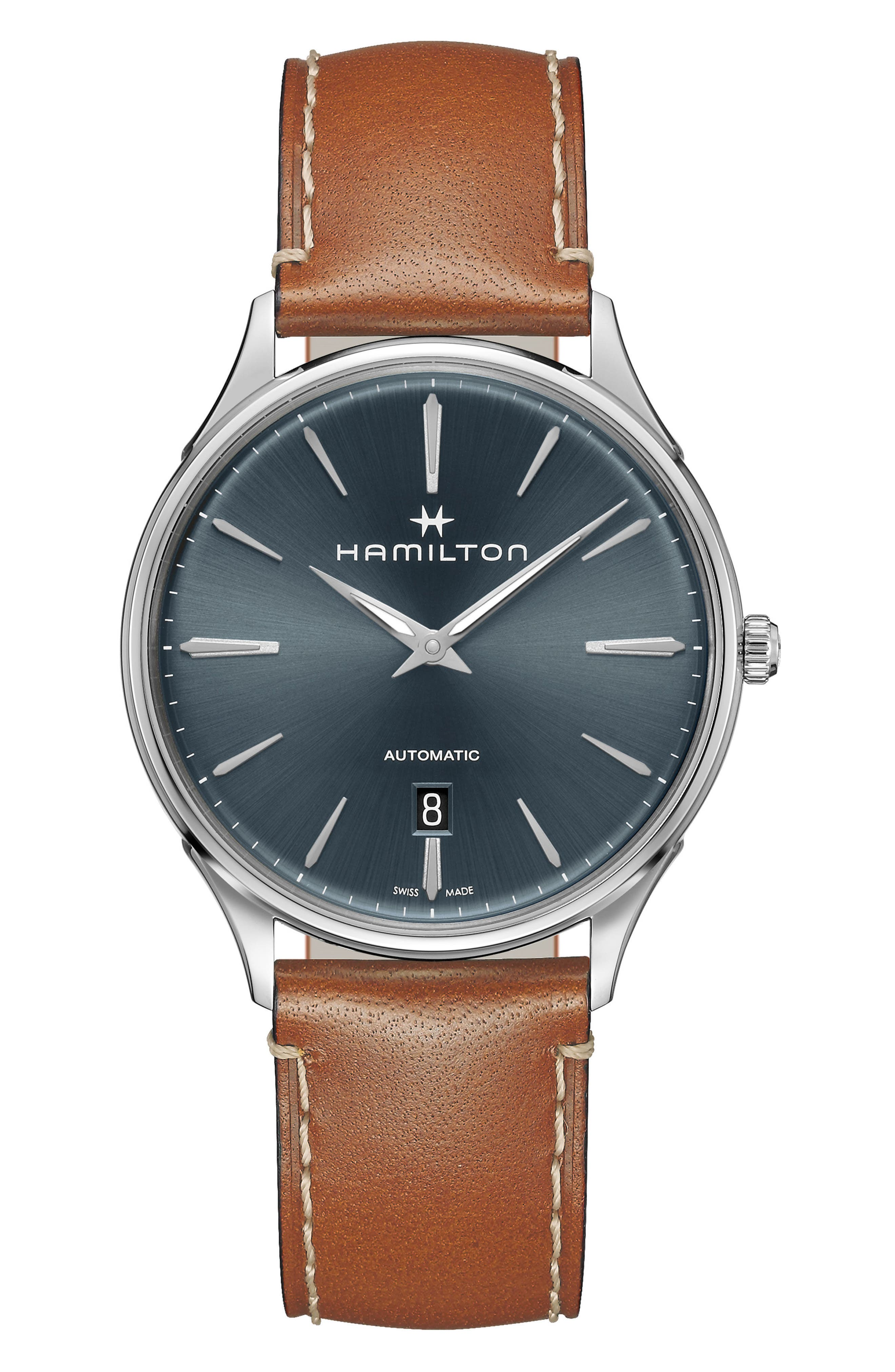 HAMILTON, Jazzmaster Thinline Automatic Leather Strap Watch, 40mm, Main thumbnail 1, color, BROWN/ BLUE/ SILVER