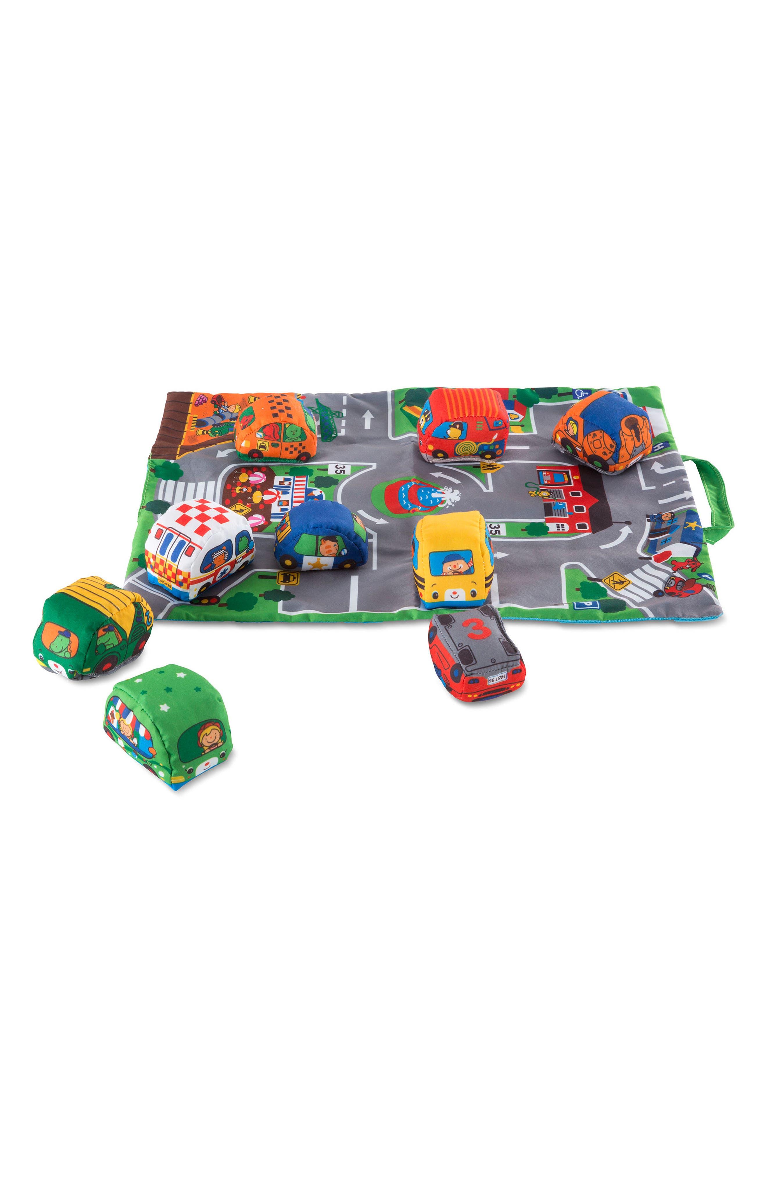MELISSA & DOUG Take-Along Town Play Mat, Main, color, GREEN