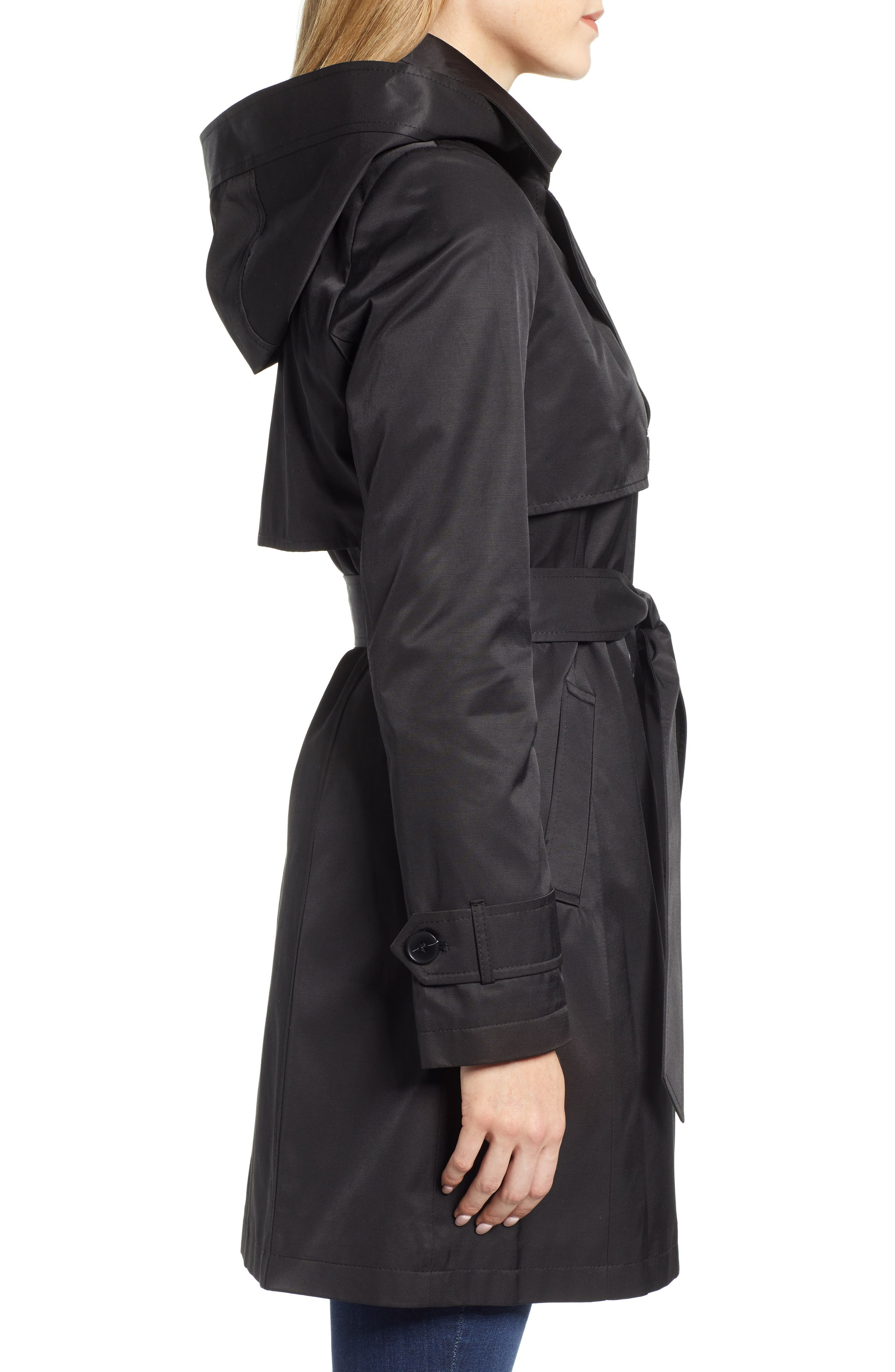 HALOGEN<SUP>®</SUP>, Hooded Trench Coat, Alternate thumbnail 4, color, BLACK
