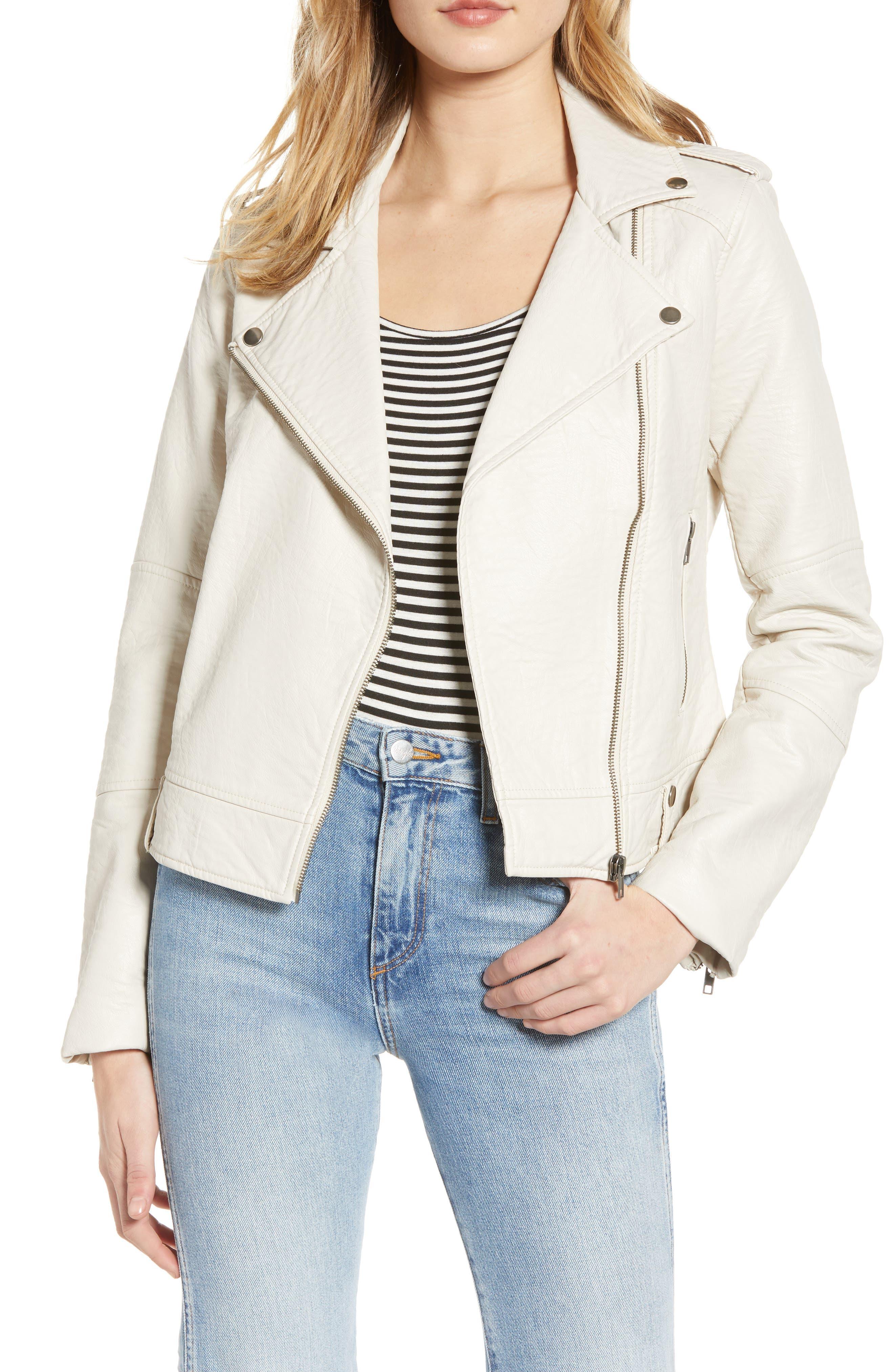 CUPCAKES AND CASHMERE, Vivica Faux Leather Jacket, Main thumbnail 1, color, BONE