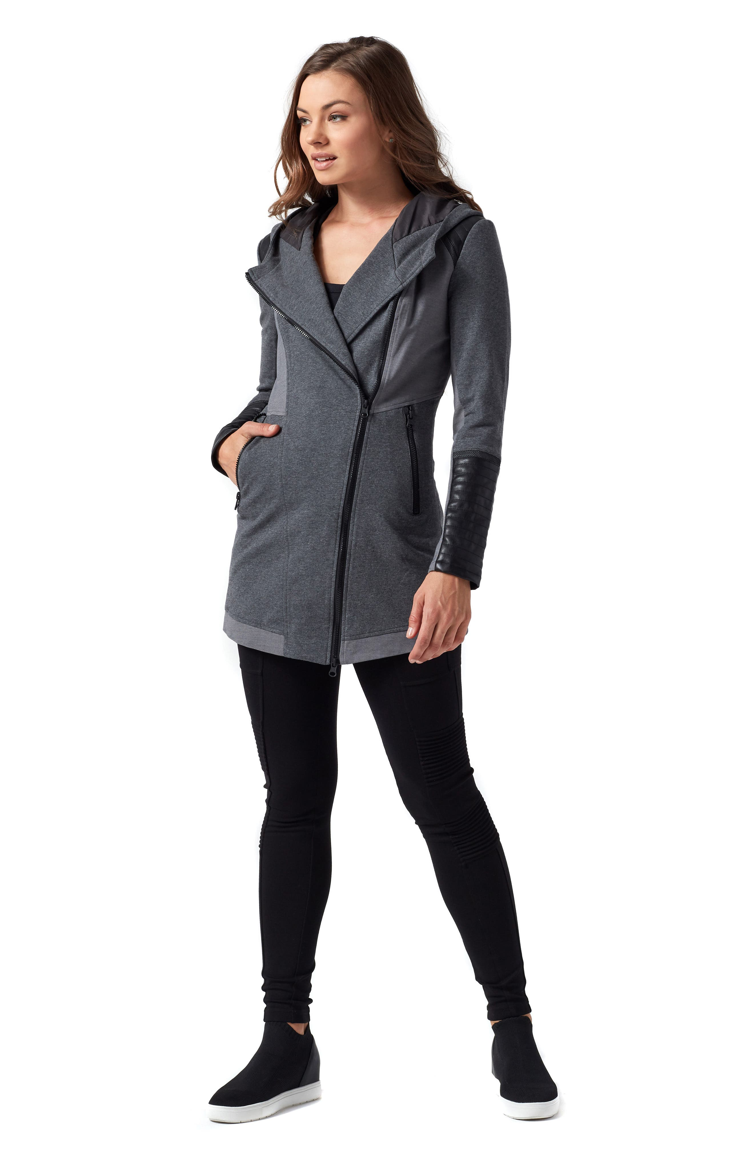 BLANC NOIR, Traveller Mesh Inset Jacket, Alternate thumbnail 9, color, CHARCOAL