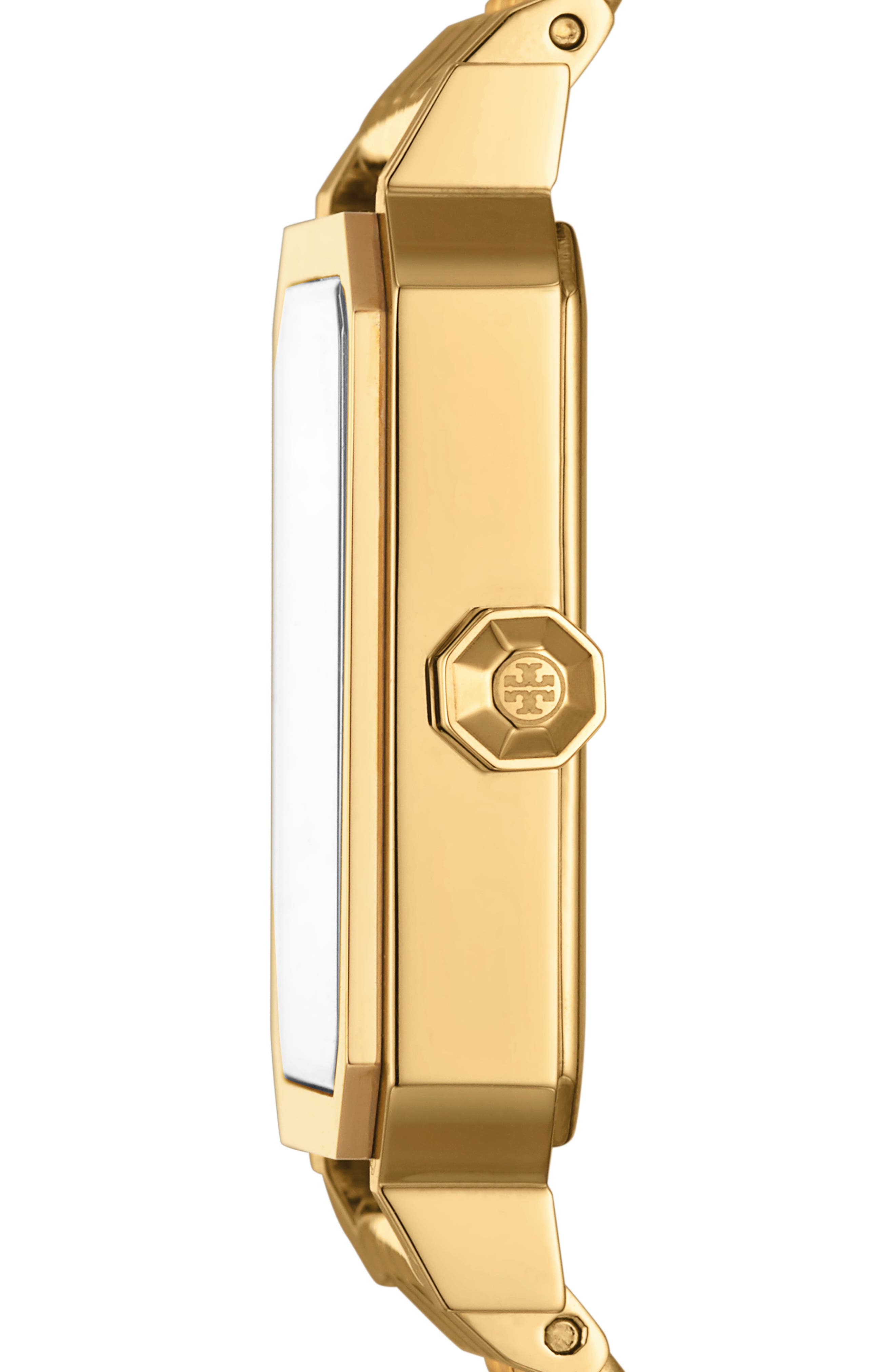 TORY BURCH, Robinson Mesh Bracelet Watch, 27mm x 29mm, Alternate thumbnail 2, color, GOLD/ WHITE / GOLD