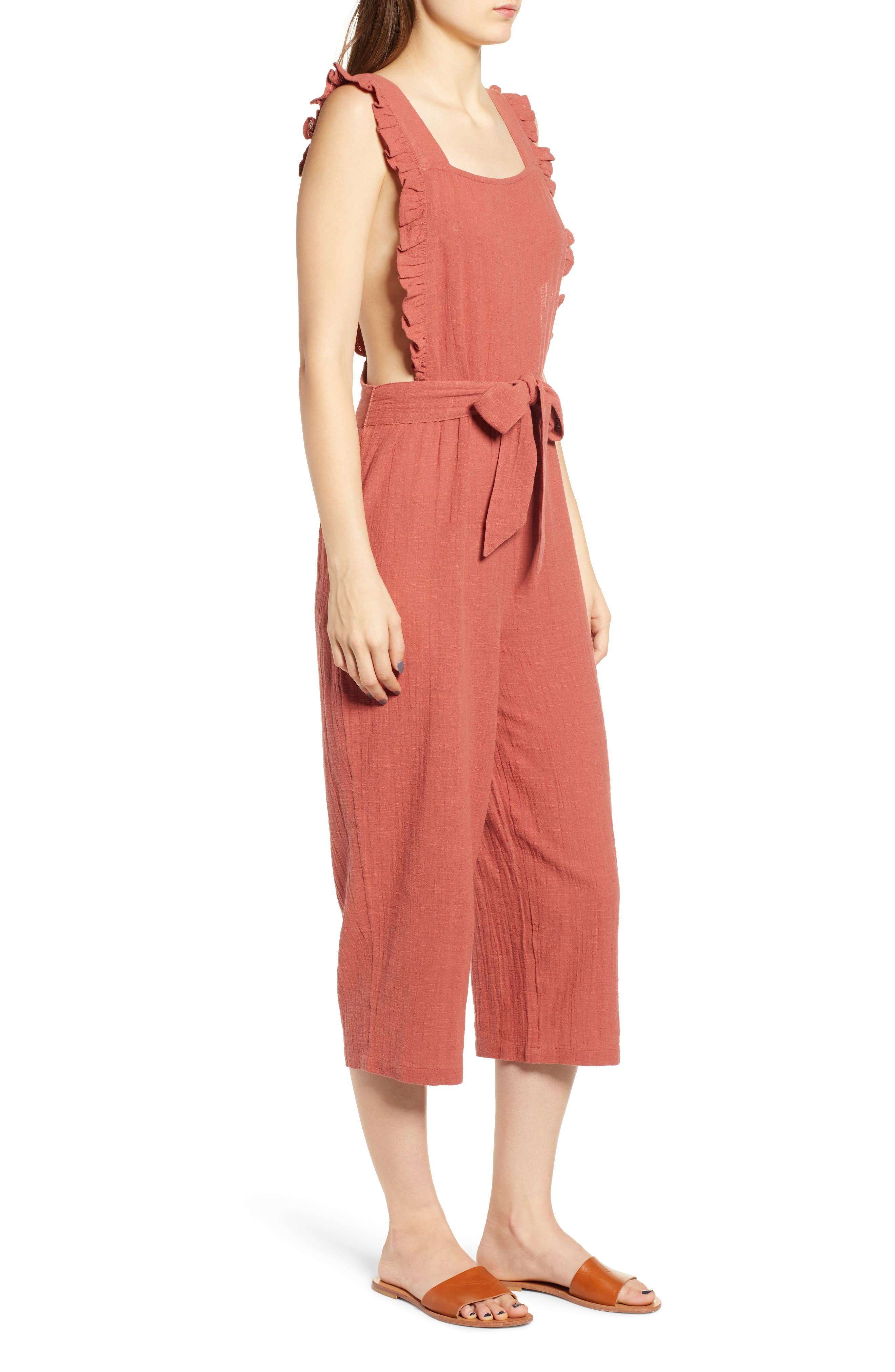 TOPSHOP, Frill Crop Jumpsuit, Alternate thumbnail 4, color, 220