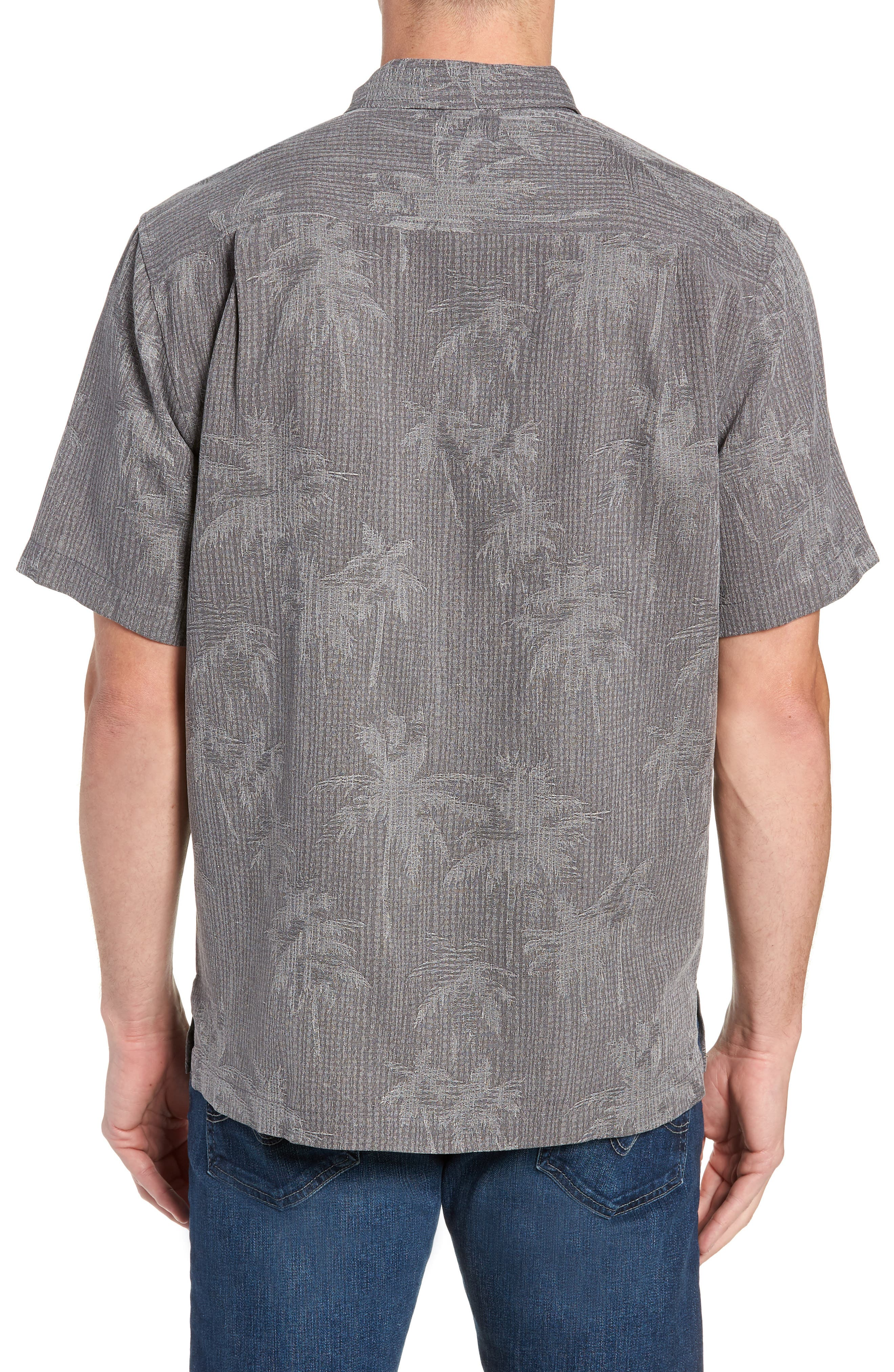 TOMMY BAHAMA, Digital Palms Silk Sport Shirt, Alternate thumbnail 3, color, CAVE