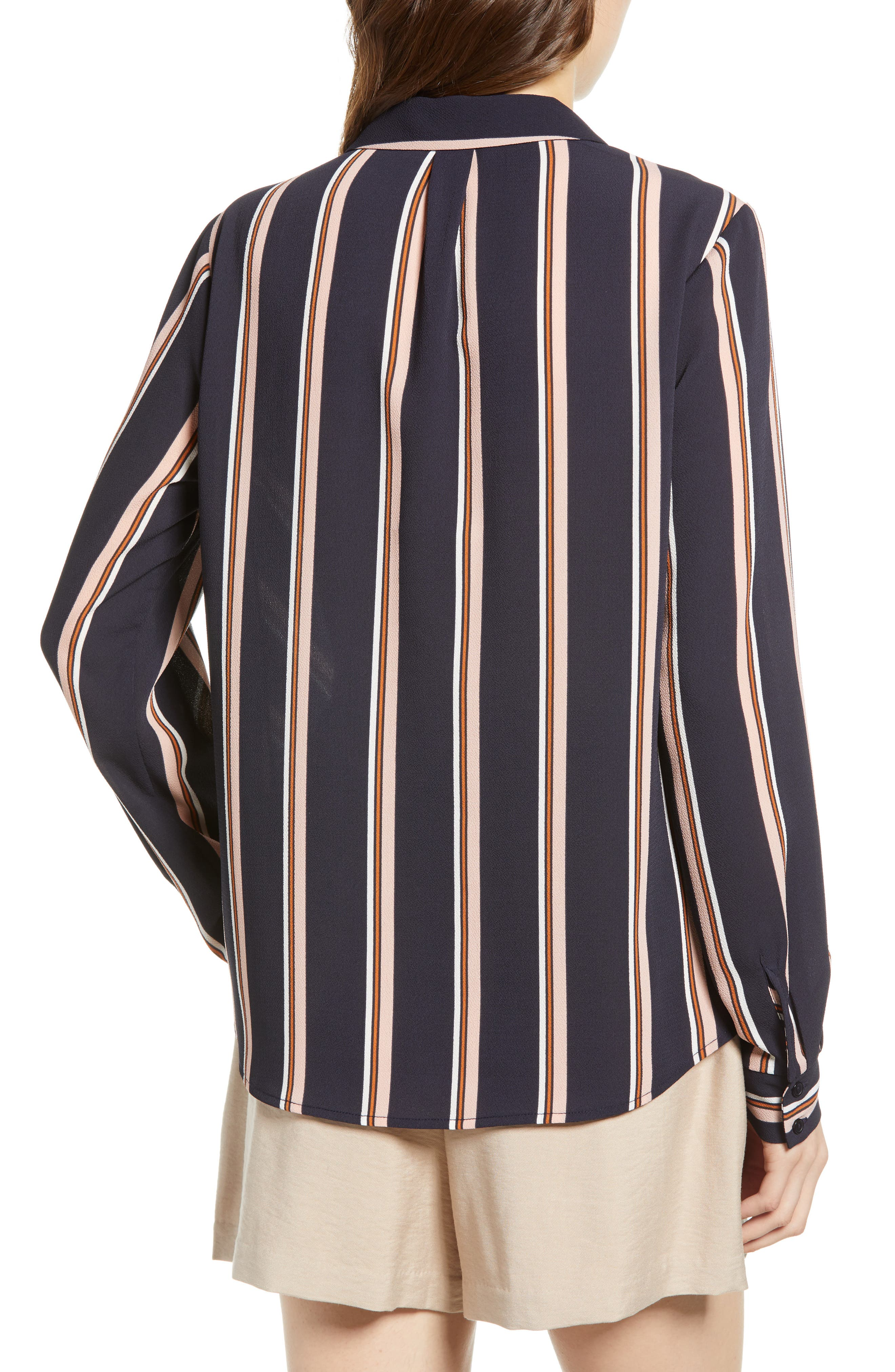 ALL IN FAVOR, Patterned Drape Front Blouse, Alternate thumbnail 2, color, NAVY STRIPE