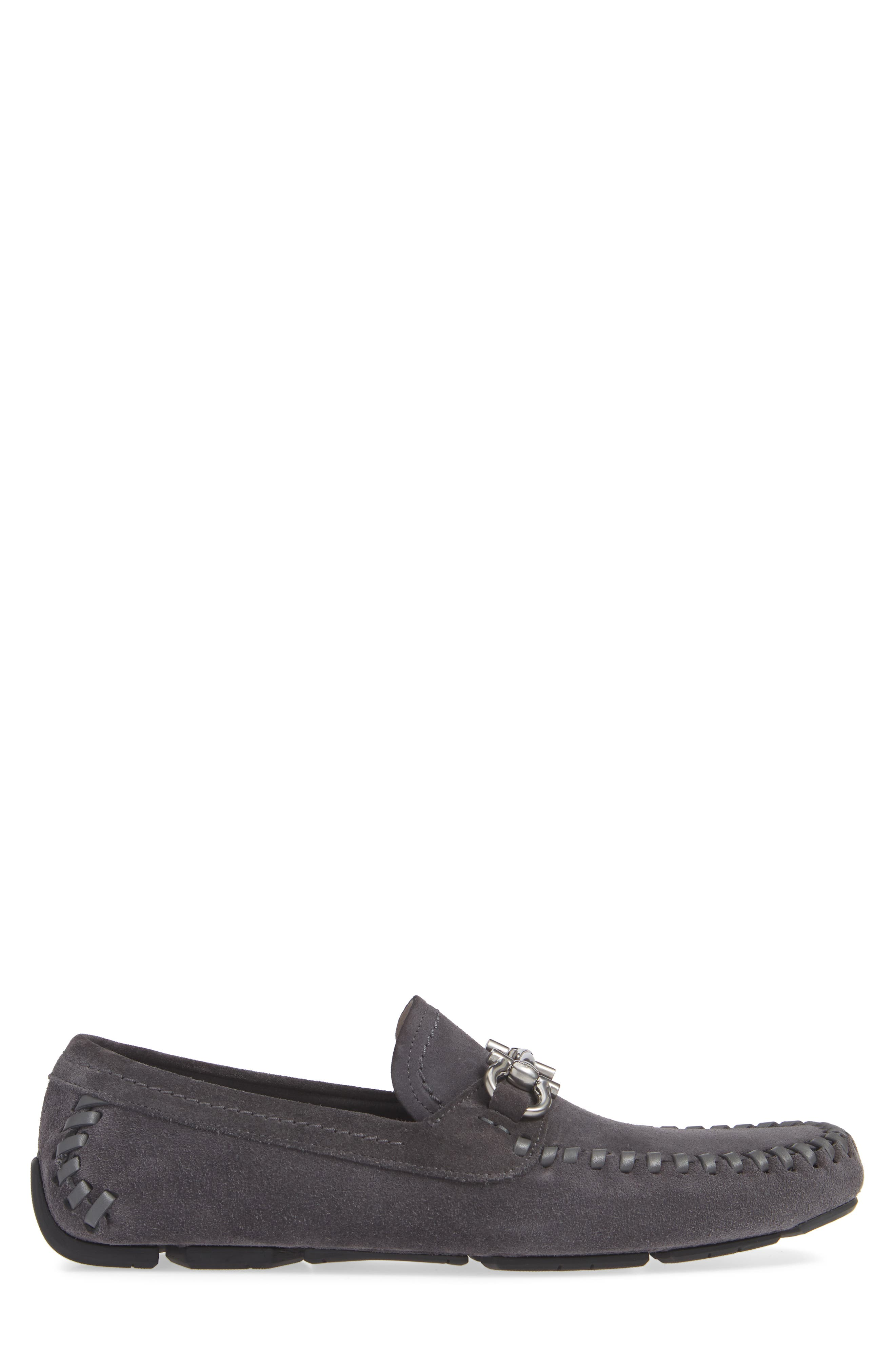 SALVATORE FERRAGAMO, Parigi Bit Driving Moccasin, Alternate thumbnail 3, color, ASFALTO NERO