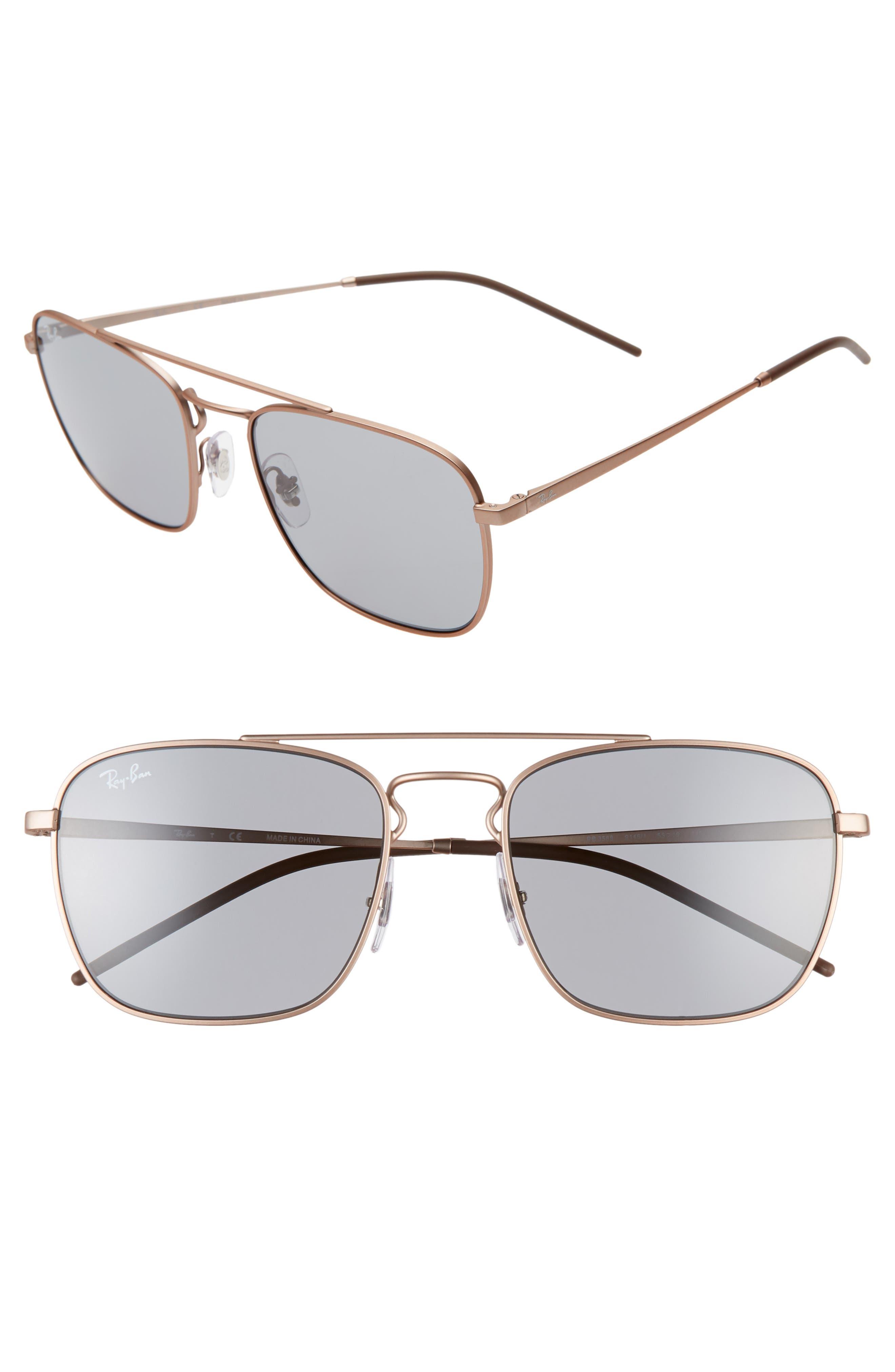 Ray-Ban 55Mm Navigator Sunglasses - Copper/ Grey Solid