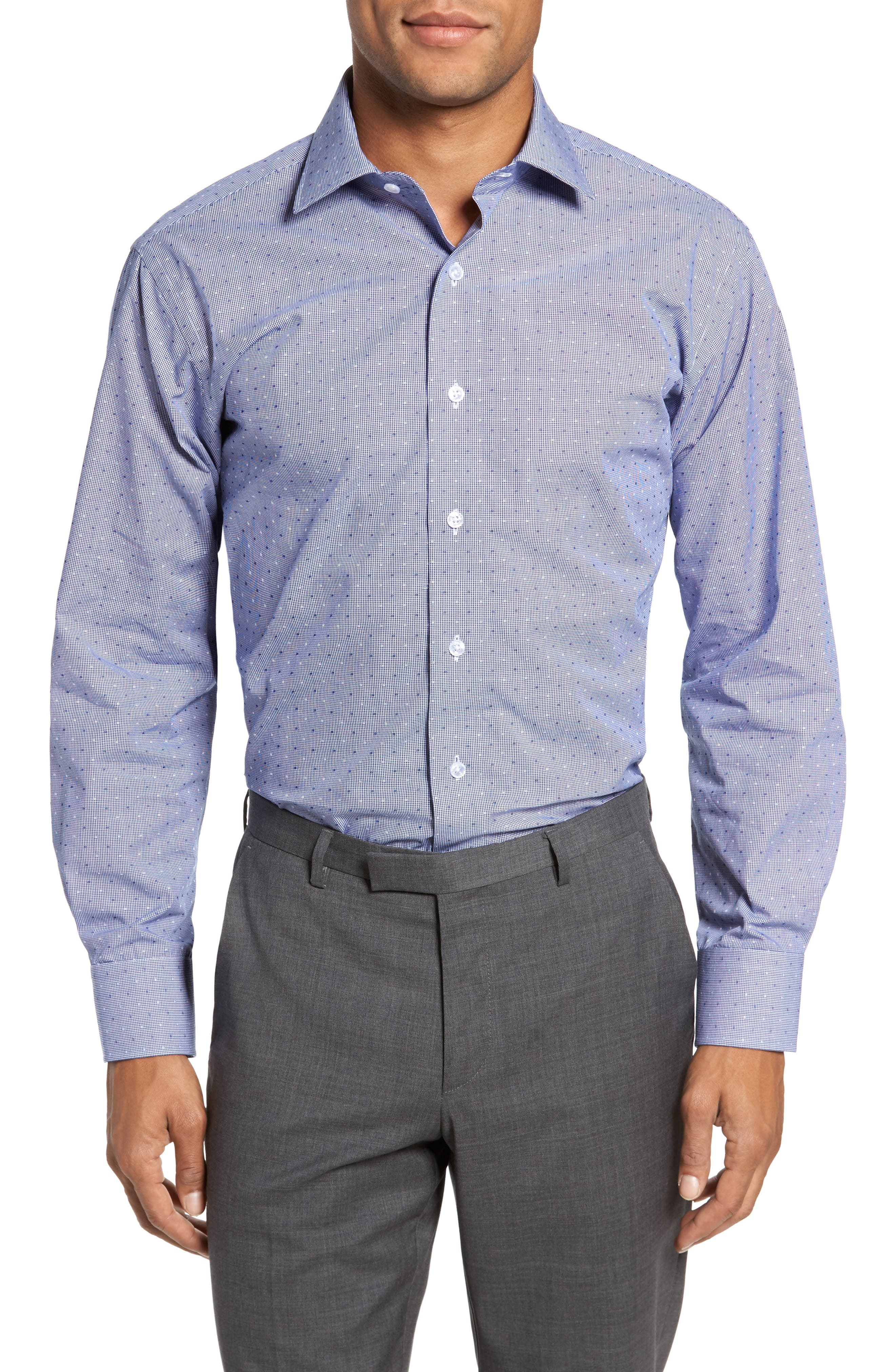 LORENZO UOMO, Trim Fit Check Dress Shirt, Main thumbnail 1, color, NAVY