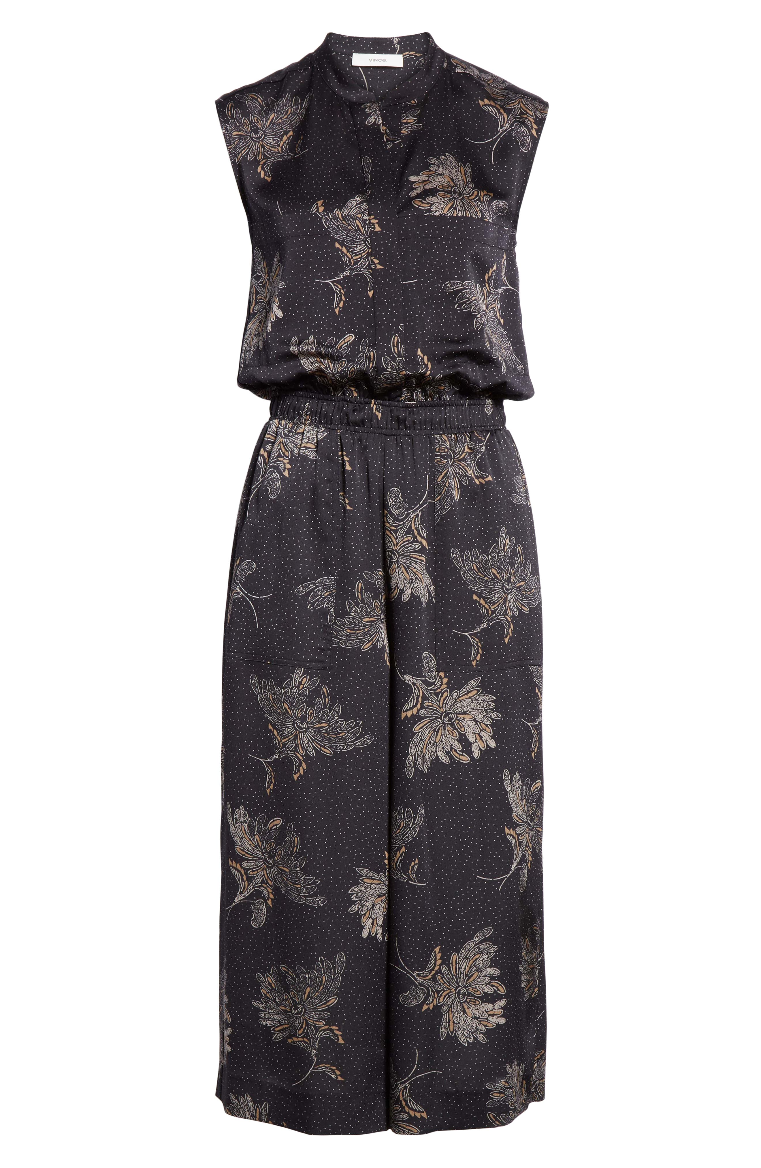 VINCE, Woodblock Floral Sleeveless Jumpsuit, Alternate thumbnail 7, color, COASTAL