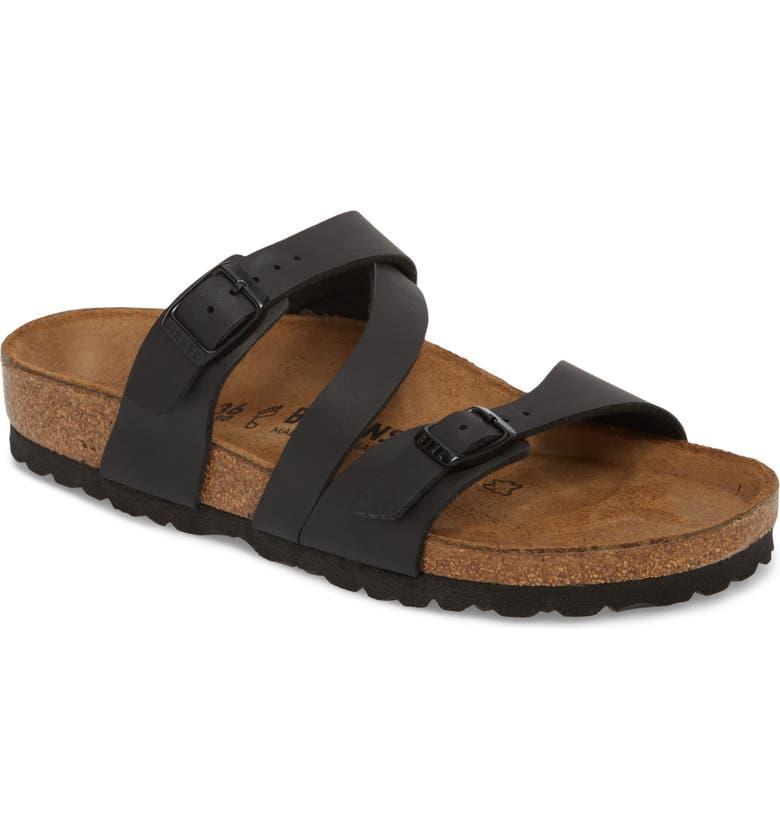 Birkenstock Salina Slide Sandal In Black/ Black Leather