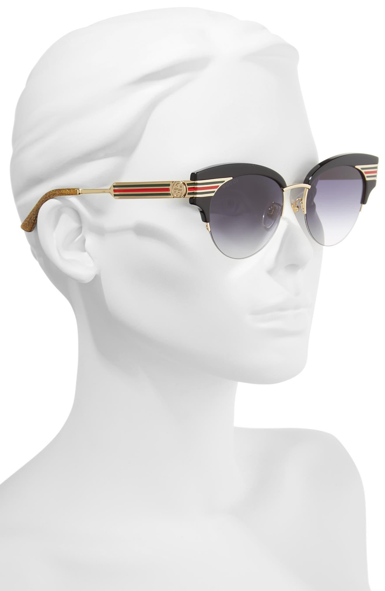 GUCCI, 53mm Cat Eye Sunglasses, Alternate thumbnail 2, color, GOLD
