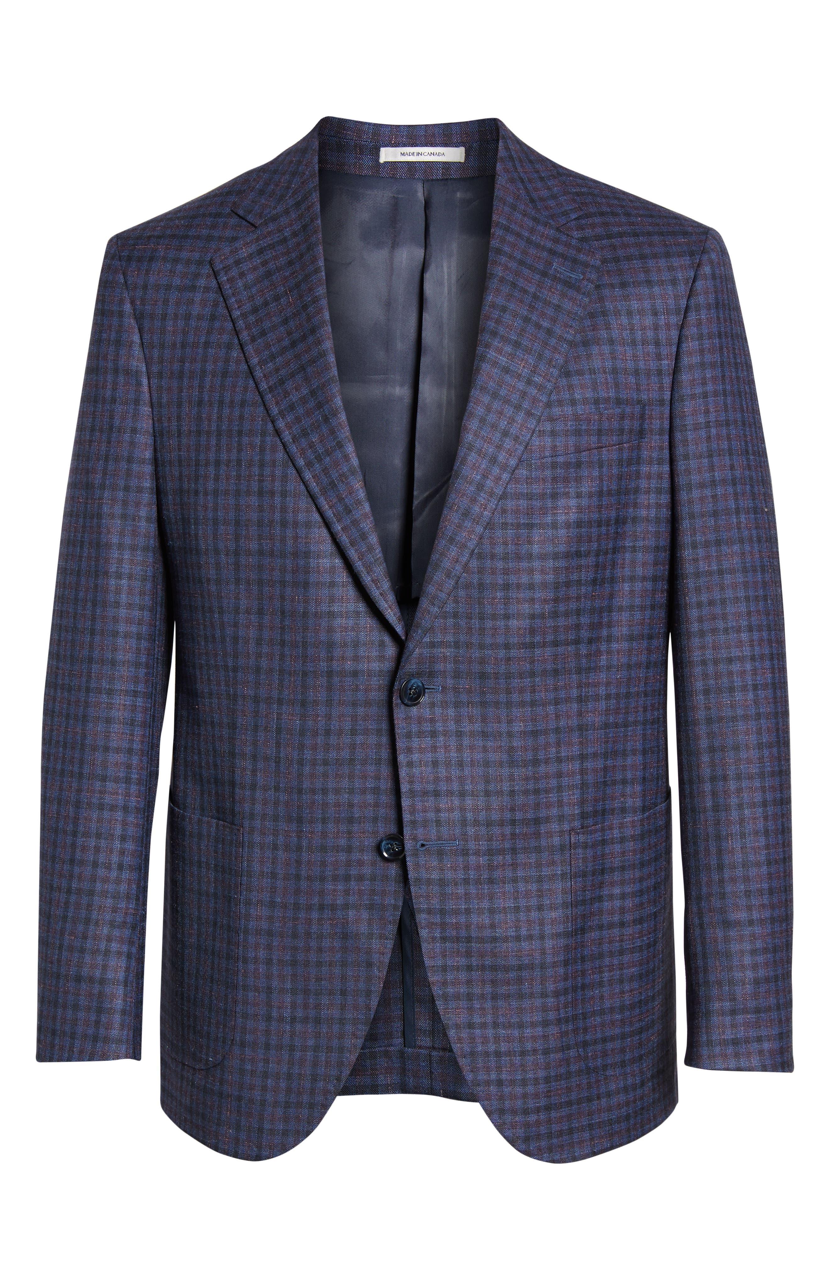 PETER MILLAR, Hyperlight Classic Fit Check Wool Blend Sport Coat, Alternate thumbnail 5, color, BLUE