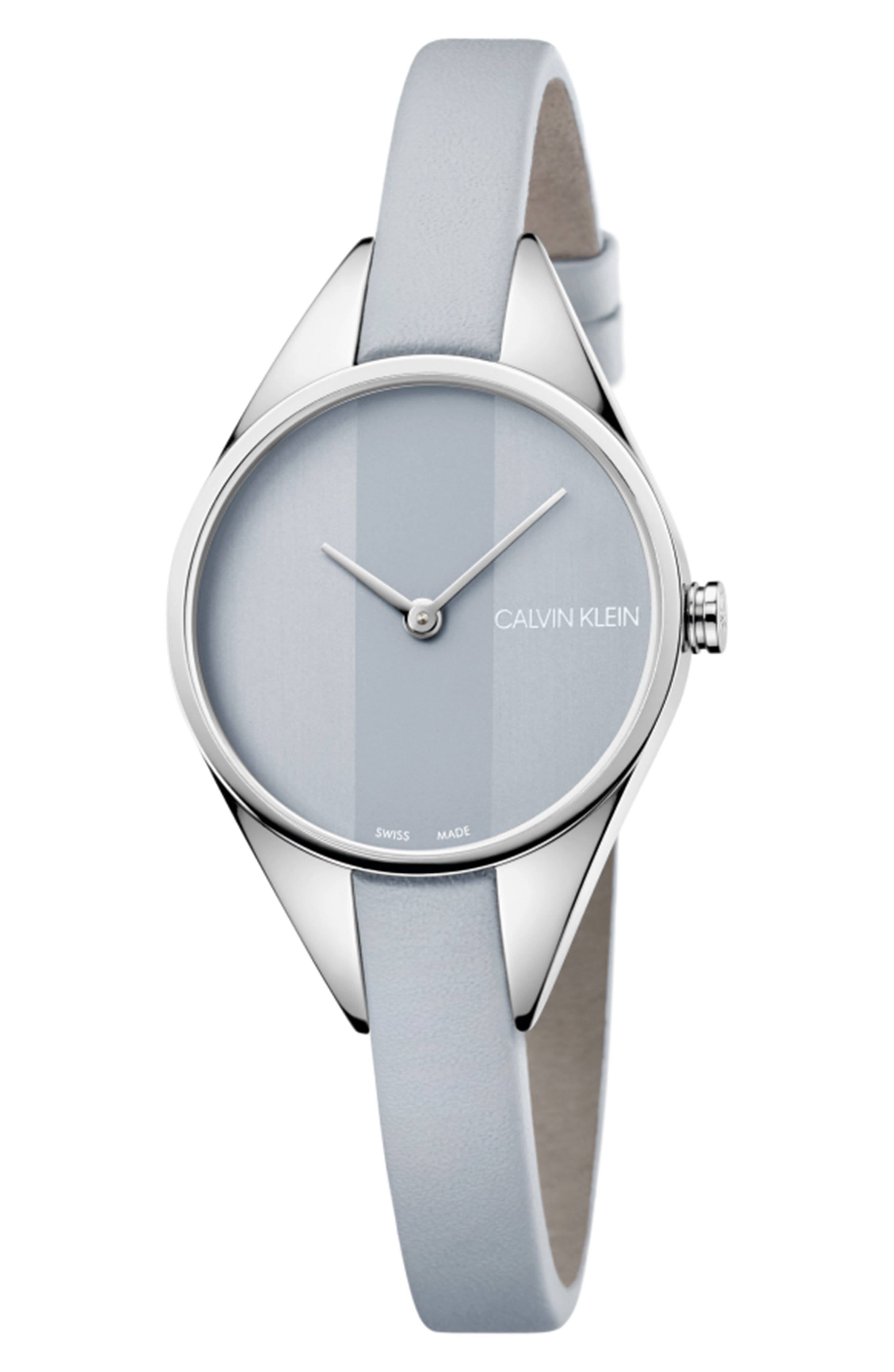 CALVIN KLEIN Achieve Rebel Leather Band Watch, 29mm, Main, color, GREY/ SILVER