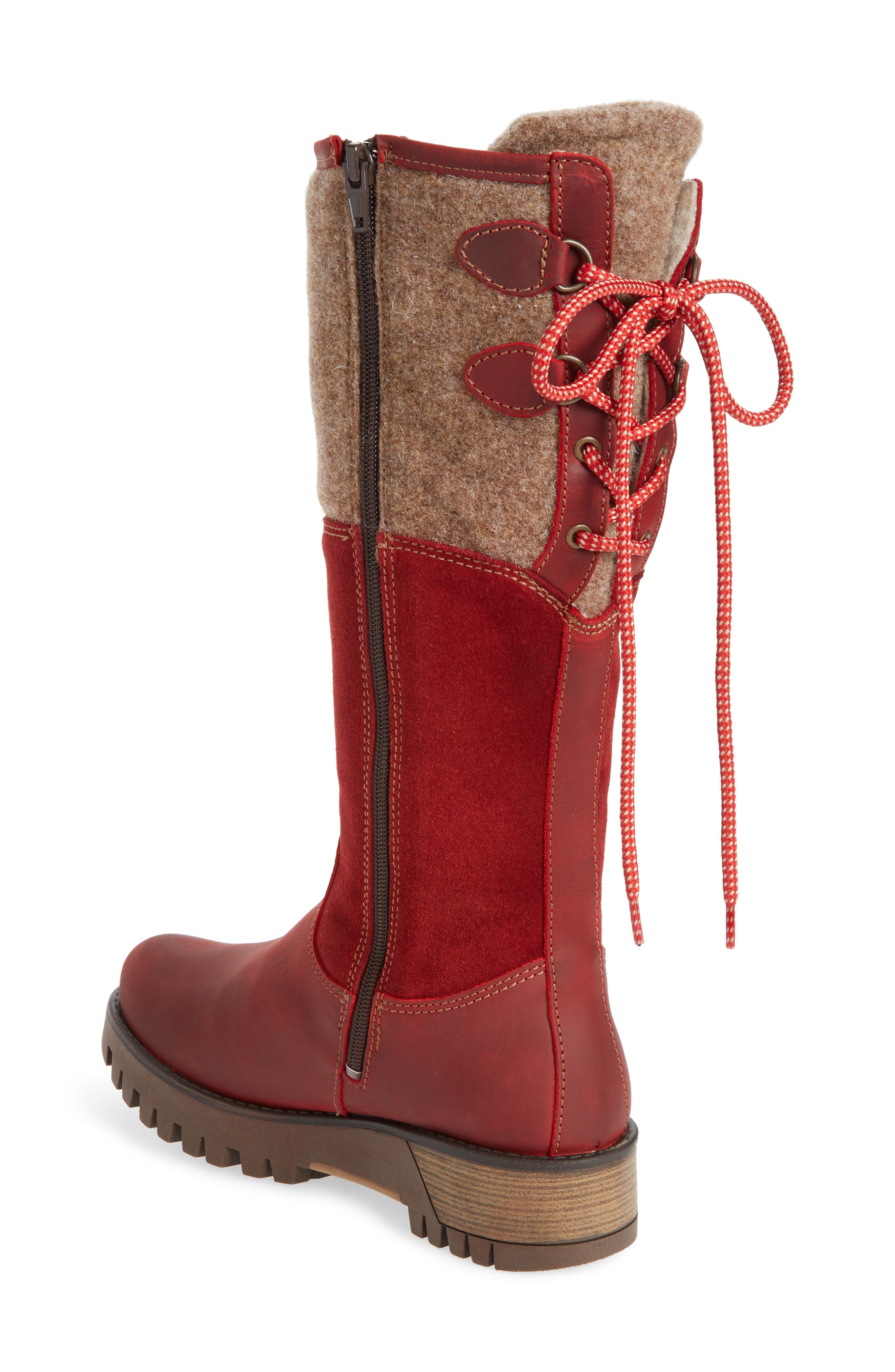 BOS. & CO., 'Ginger' Waterproof Mid Calf Platform Boot, Alternate thumbnail 2, color, RED/ SCARLET WOOL