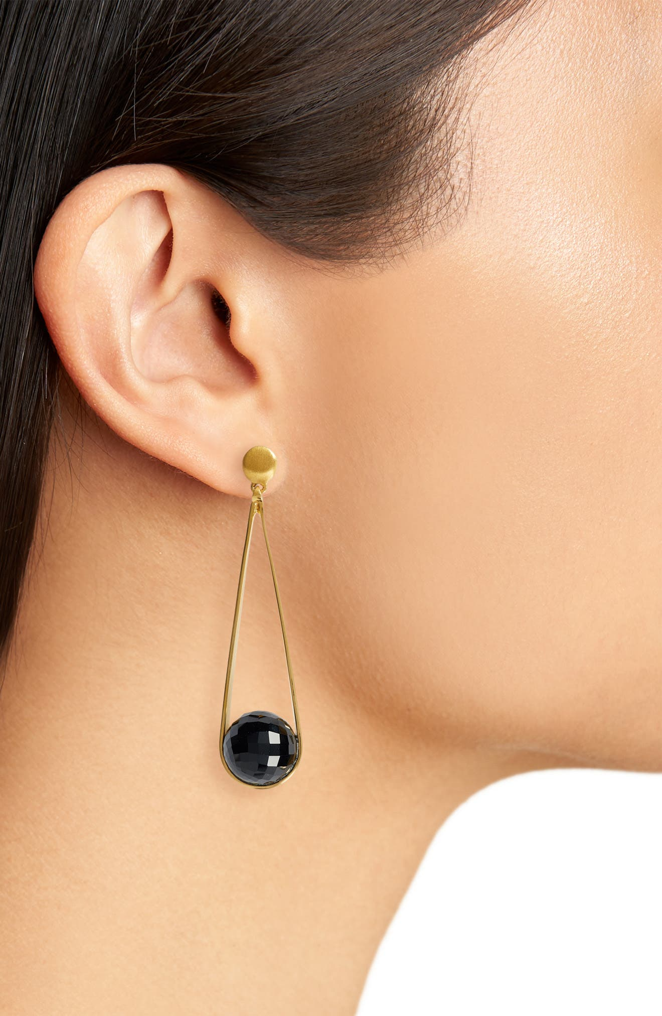 DEAN DAVIDSON, Ipanema Earrings, Alternate thumbnail 2, color, BLACK ONYX/ GOLD