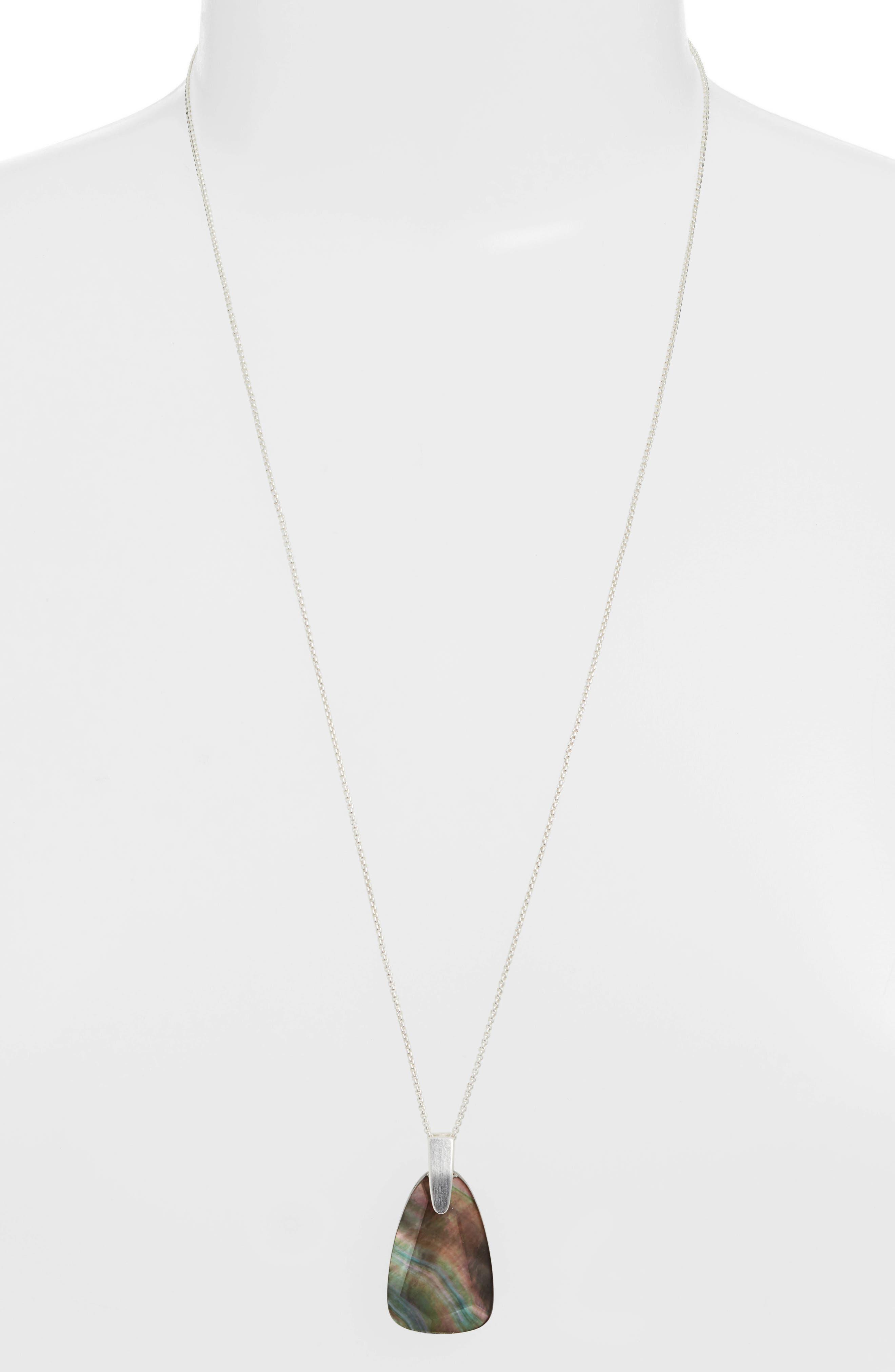 KENDRA SCOTT, Maeve Long Stone Pendant Necklace, Main thumbnail 1, color, BRIGHT SILVER/ BLACK MOP