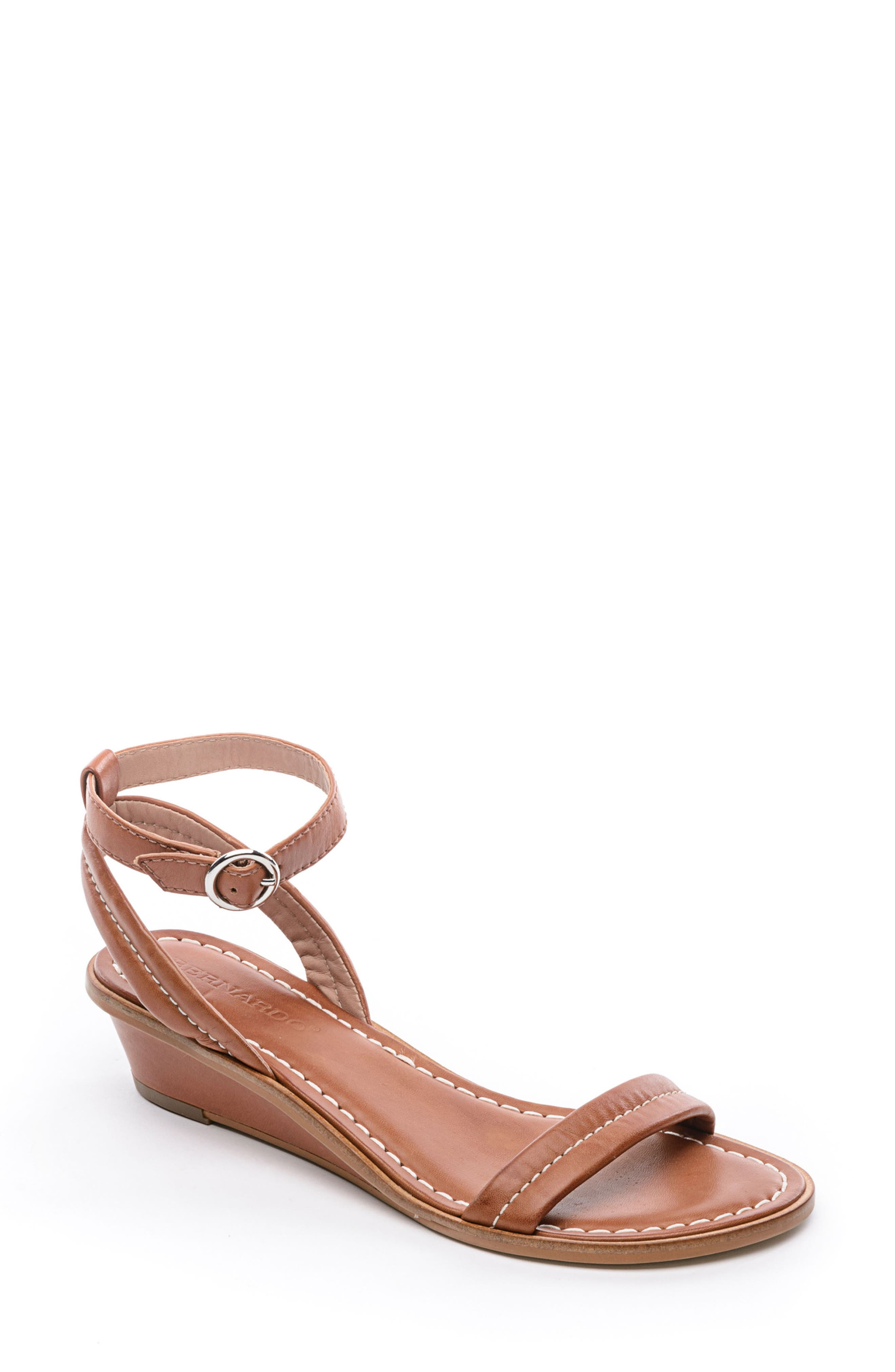 BERNARDO Catherine Ankle Strap Sandal, Main, color, LUGGAGE BROWN ANTIQUE
