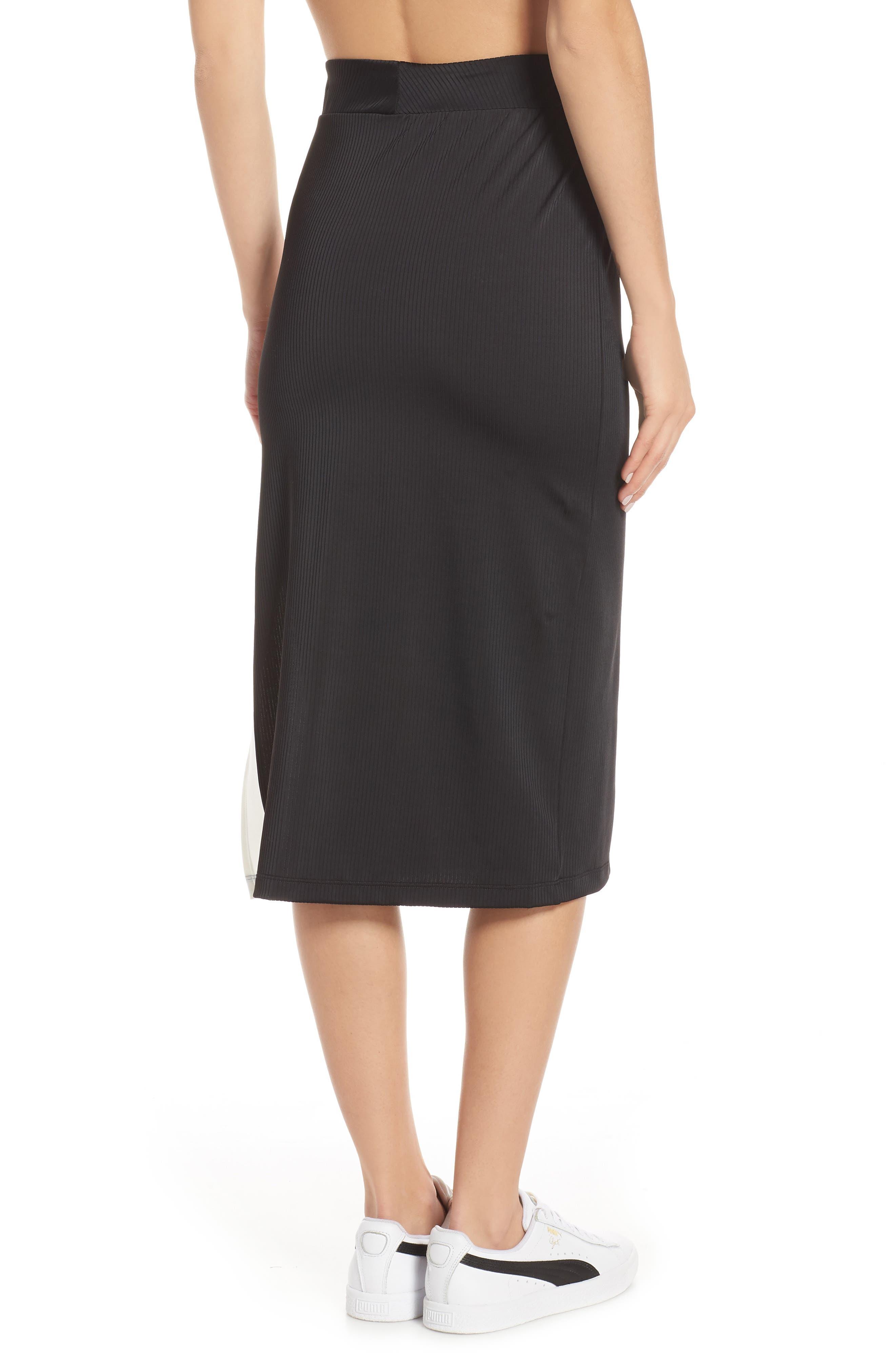 PUMA, Classics Ribbed Skirt, Alternate thumbnail 2, color, 001