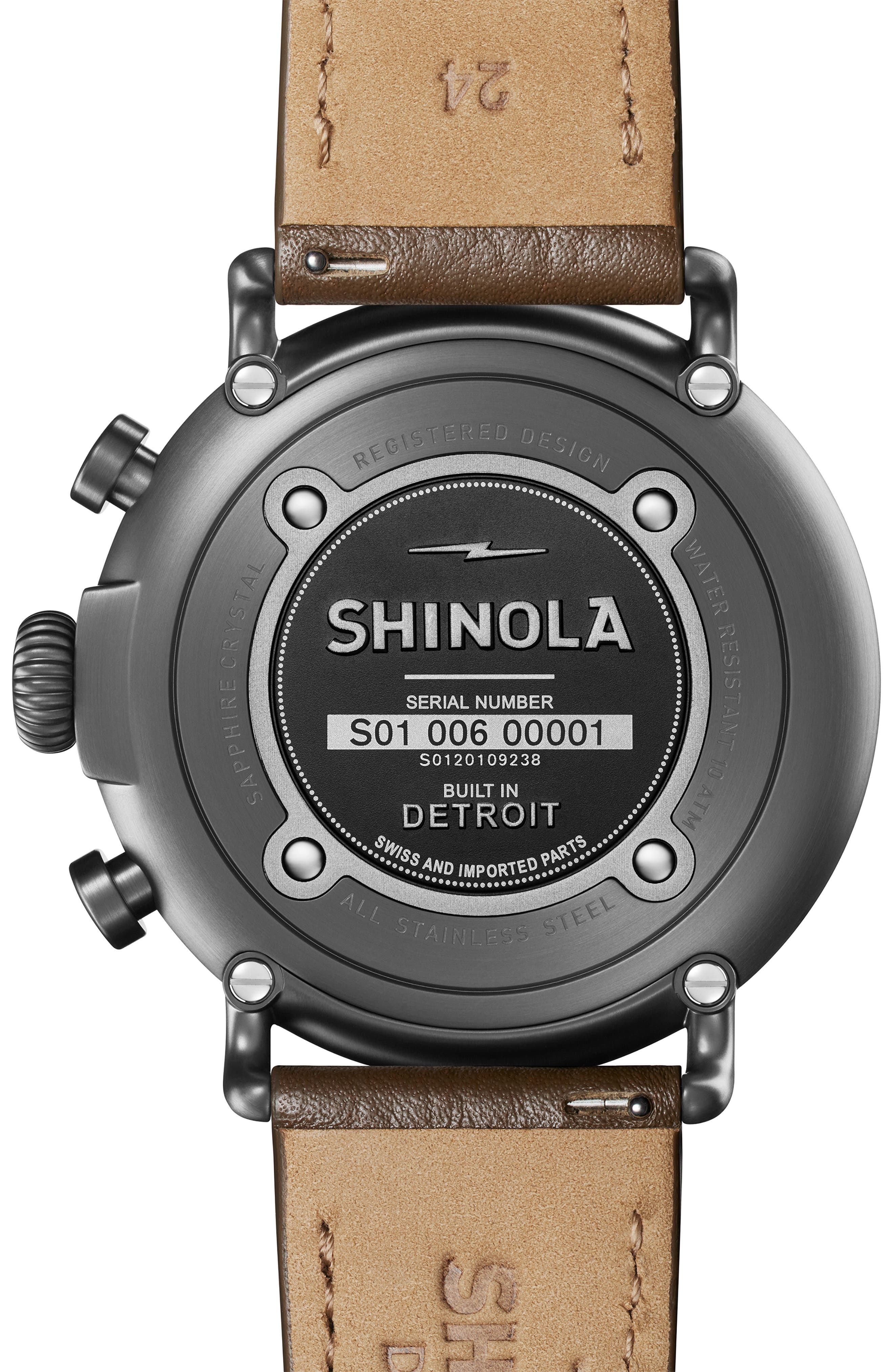 SHINOLA, The Runwell Chrono Leather Strap Watch, 47mm, Alternate thumbnail 2, color, WALNUT/ GUNMETAL