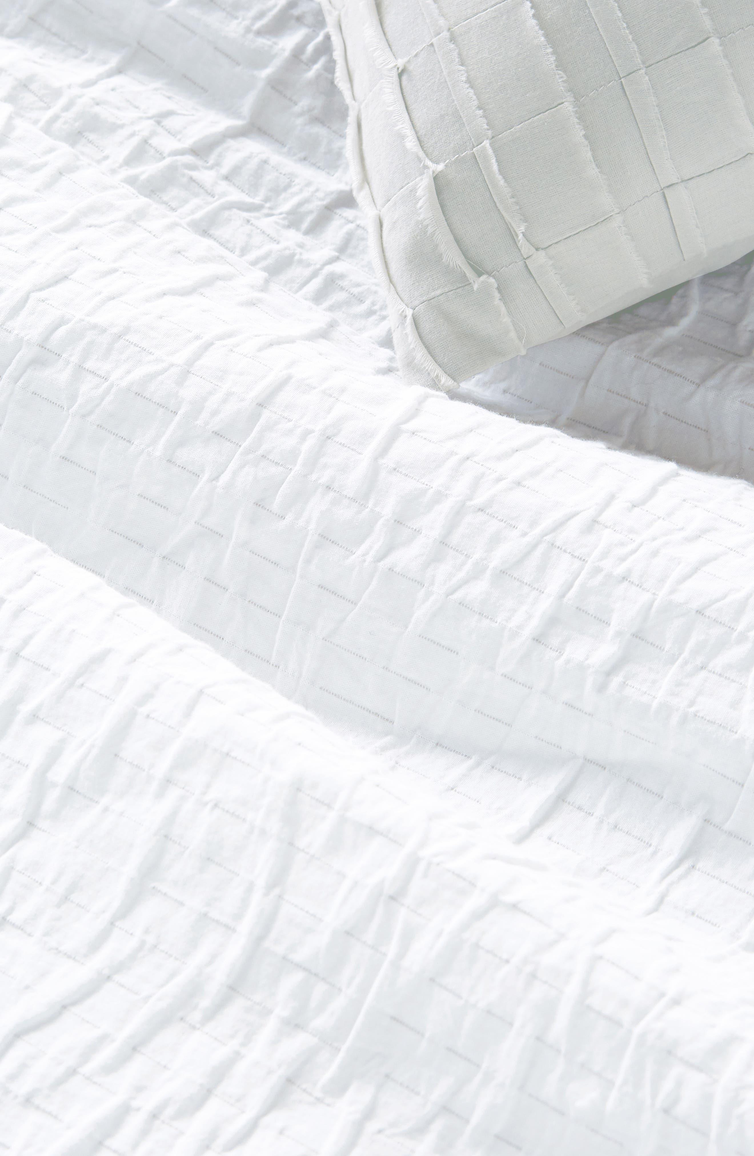 DKNY, PURE Crinkle Duvet Cover, Alternate thumbnail 2, color, WHITE