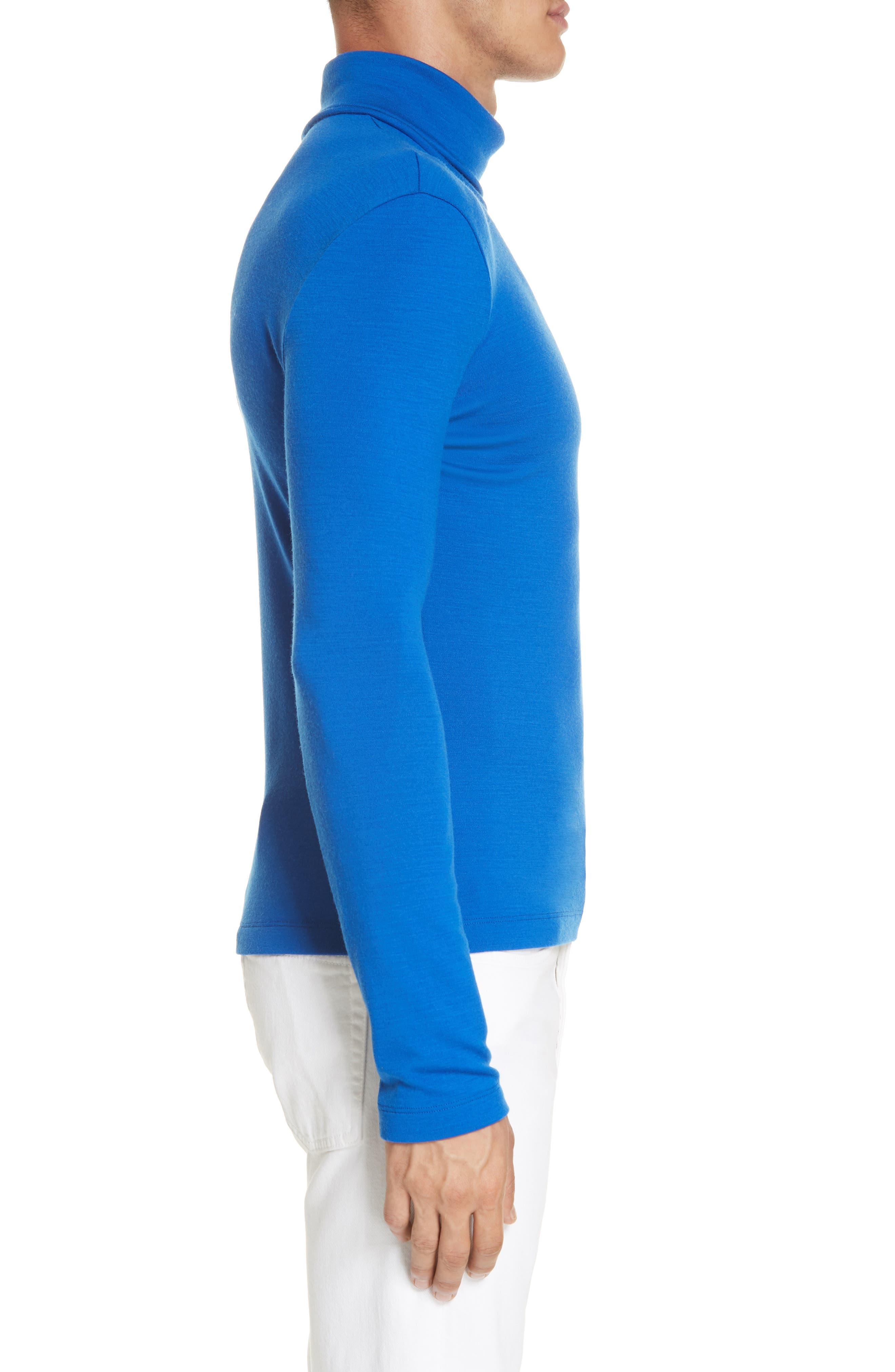CALVIN KLEIN 205W39NYC, Wool Jersey Turtleneck, Alternate thumbnail 3, color, BRIGHT BLUE