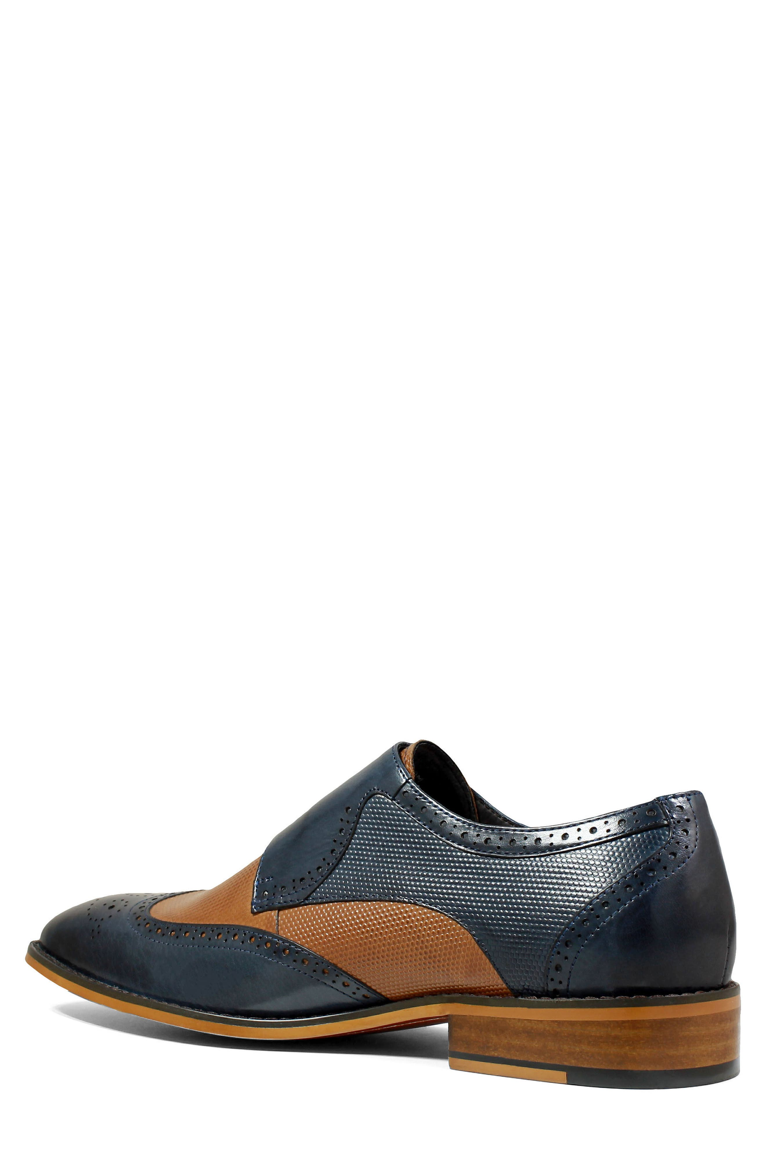 STACY ADAMS, Lavine Wingtip Monk Shoe, Main thumbnail 1, color, NAVY AND SADDLE TAN LEATHER
