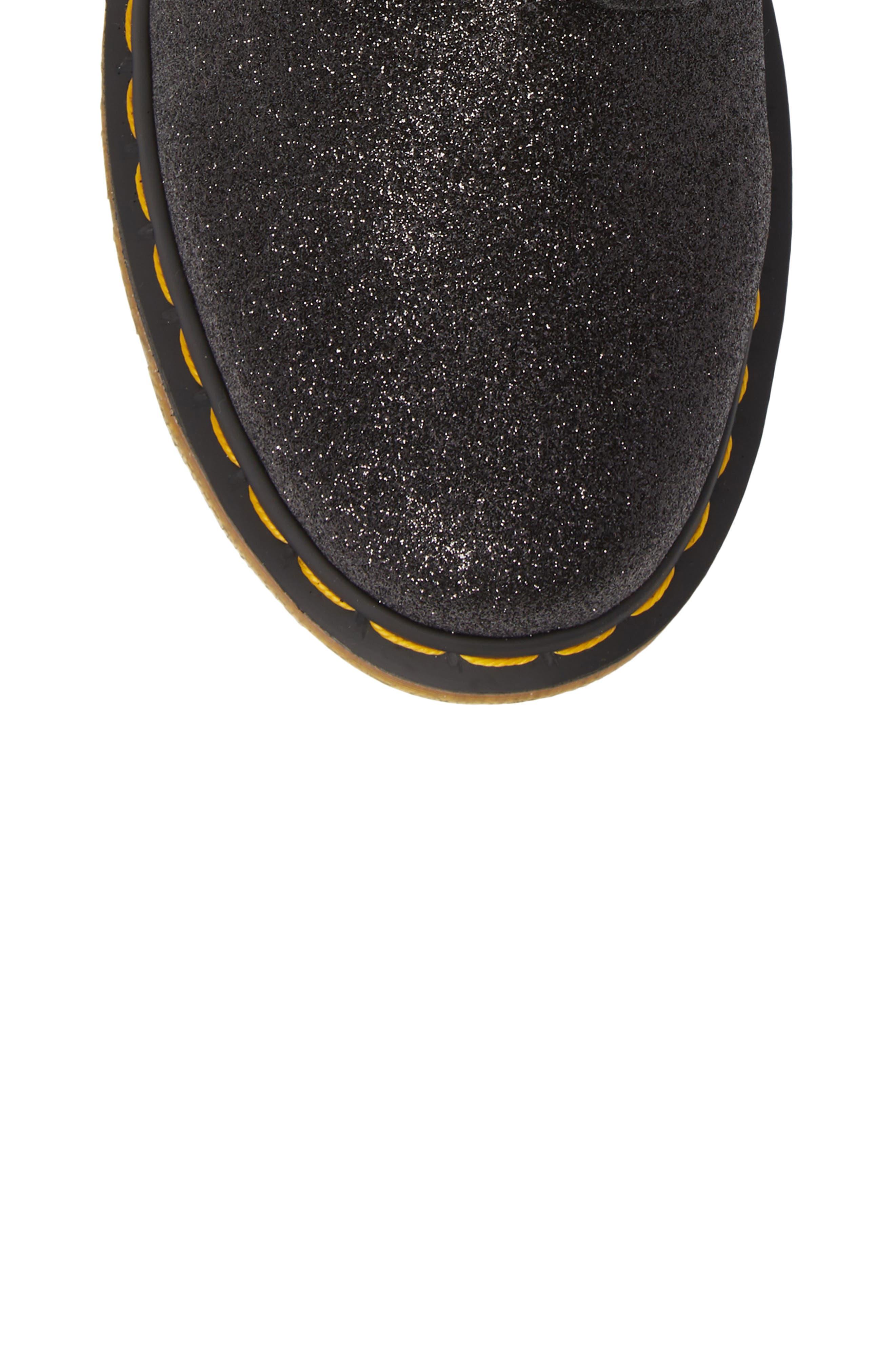 DR. MARTENS, 1460 Pascal Glitter Boot, Alternate thumbnail 5, color, BLACK