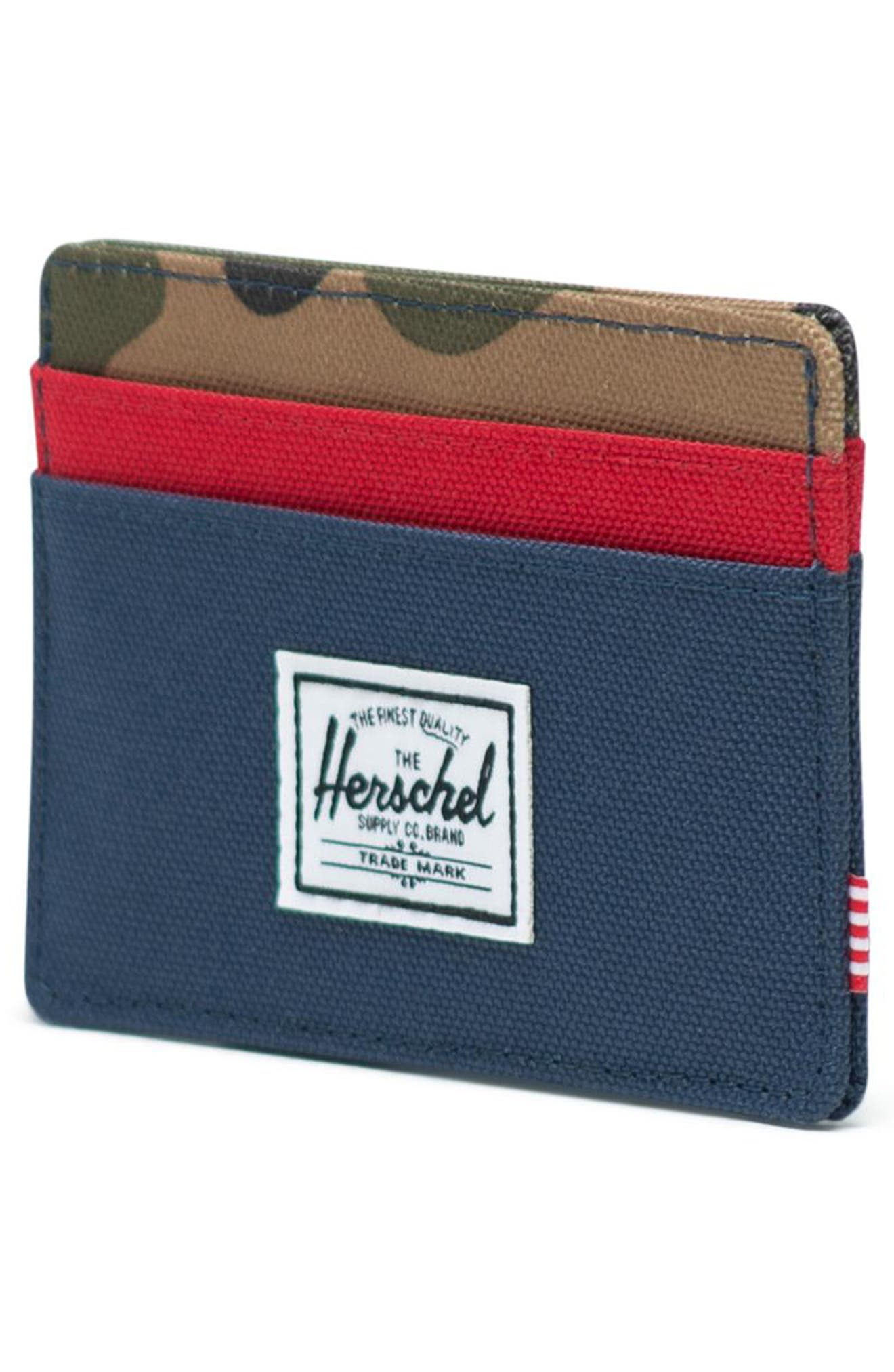 HERSCHEL SUPPLY CO., Charlie RFID Card Case, Alternate thumbnail 3, color, NAVY/ RED/ CAMO