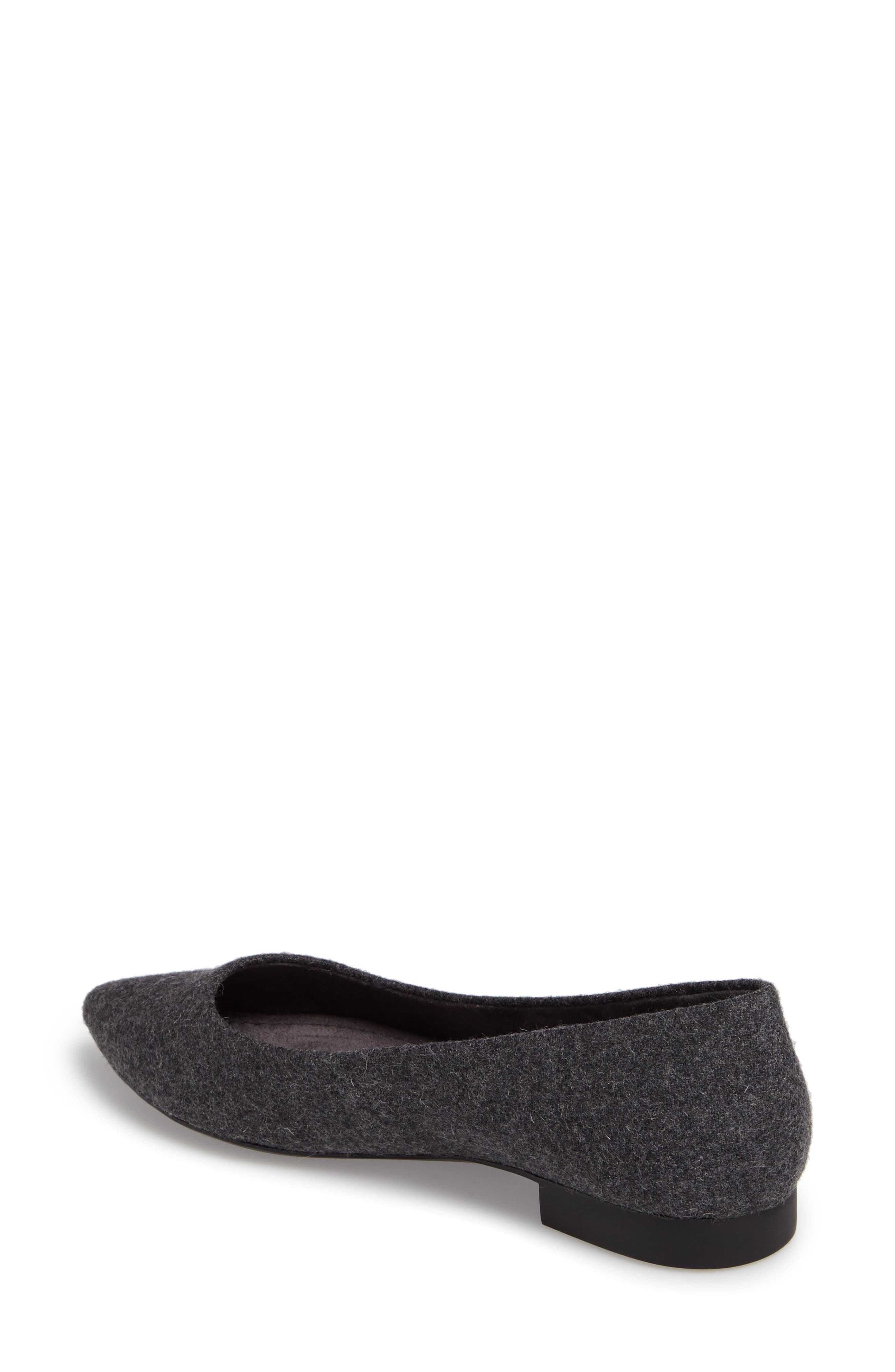BELLA VITA, 'Vivien' Pointy Toe Flat, Alternate thumbnail 2, color, GREY FLANNEL FABRIC