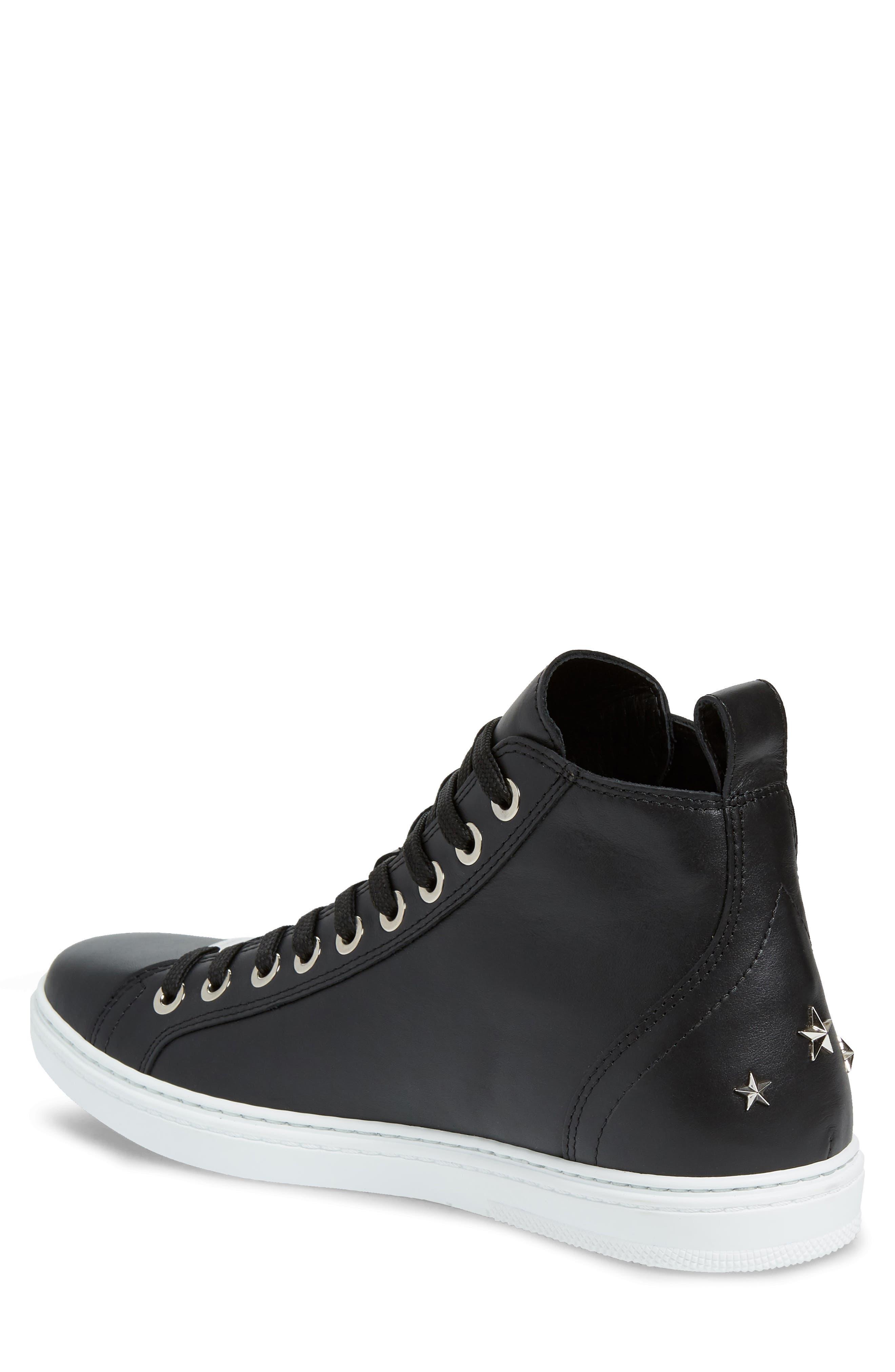 JIMMY CHOO, Colt High Top Sneaker, Alternate thumbnail 2, color, BLACK